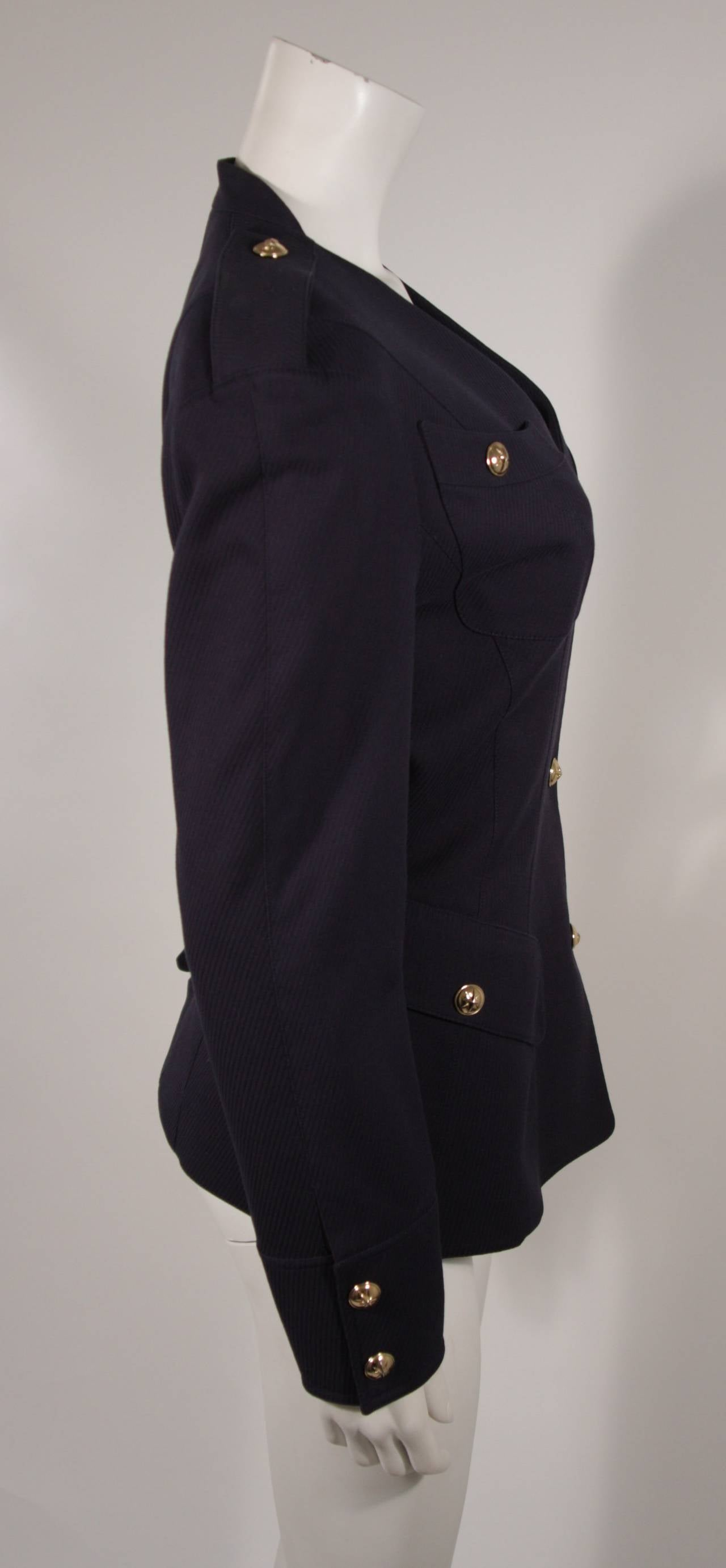 Theirry Mugler Navy Military Inspired Blazer with Gold Buttons Size 42 5