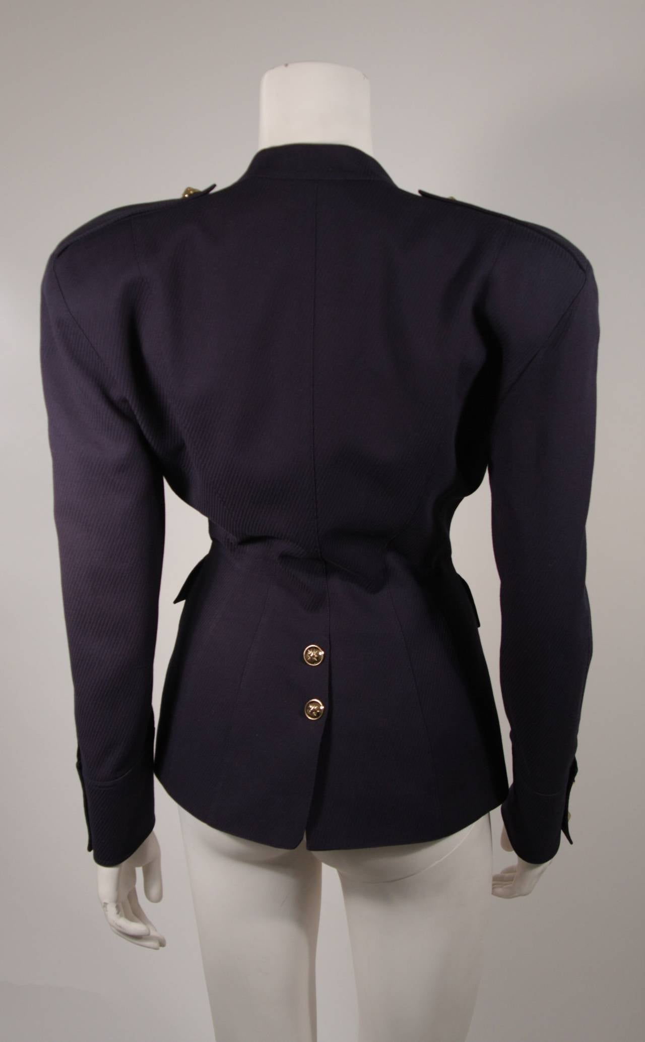 Theirry Mugler Navy Military Inspired Blazer with Gold Buttons Size 42 6