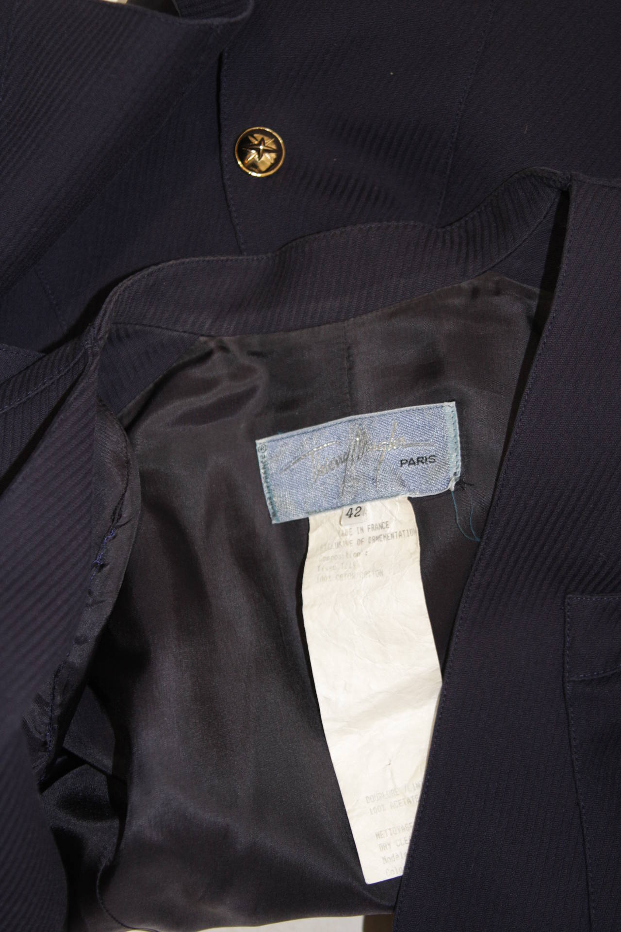 Theirry Mugler Navy Military Inspired Blazer with Gold Buttons Size 42 8
