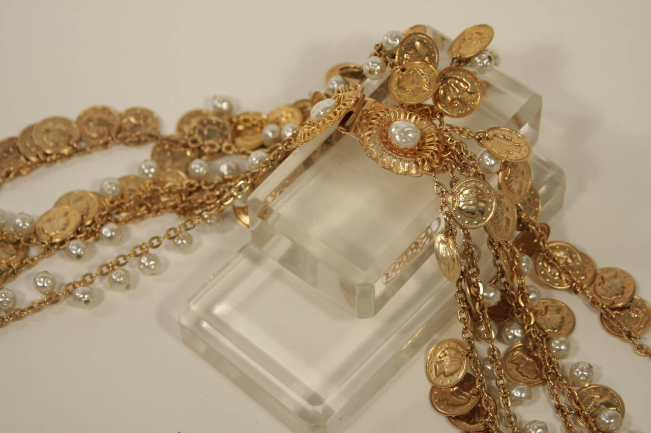"""Christian Dior  Belt with Gold Coin and Pearl Design 26.5"""" 9"""