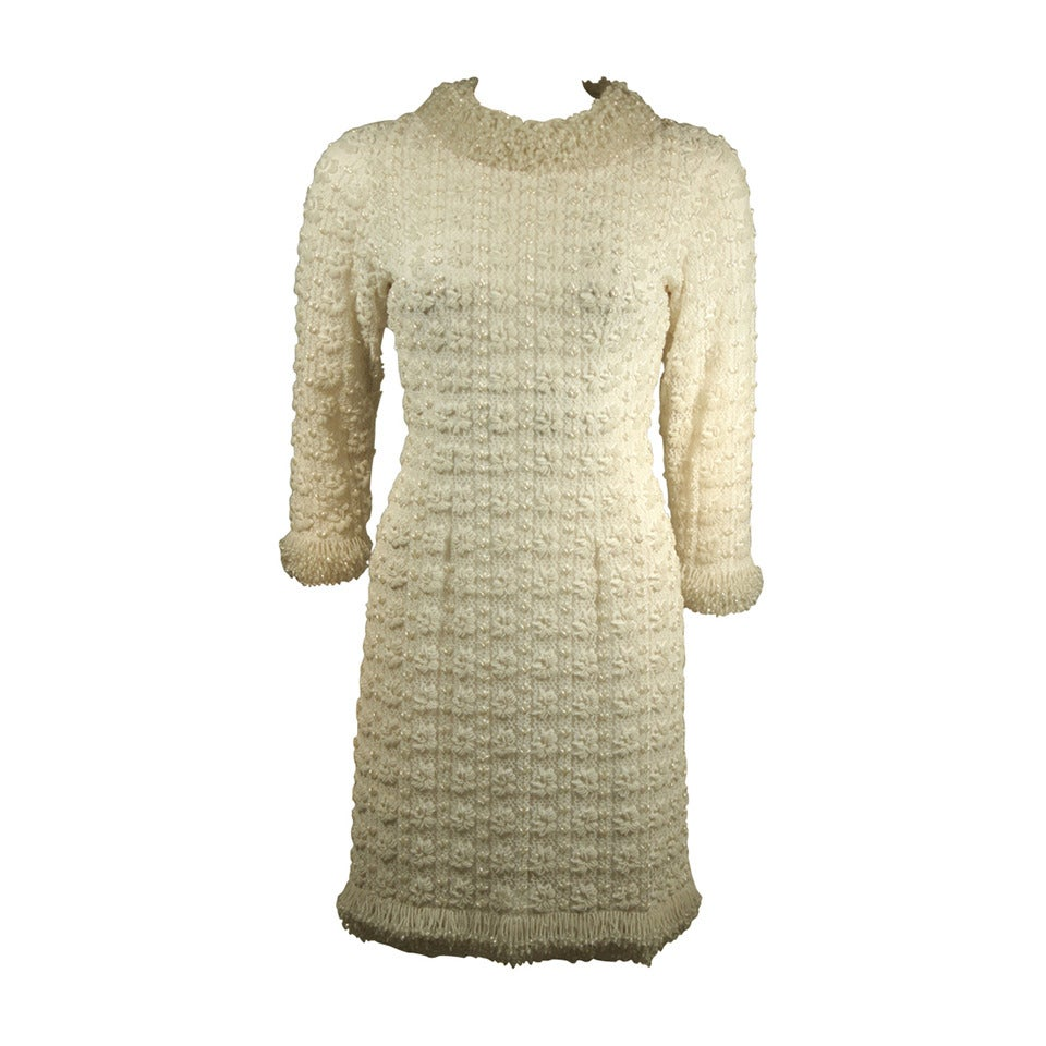 1960's White Beaded Cocktail Dress