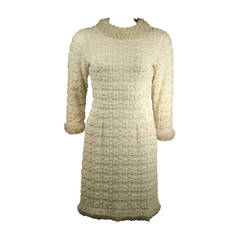 1960's White Beaded Cocktail Dress
