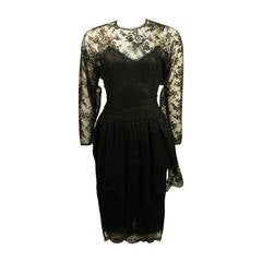 Oscar De La Renta Lace Cocktail Dress Size 10
