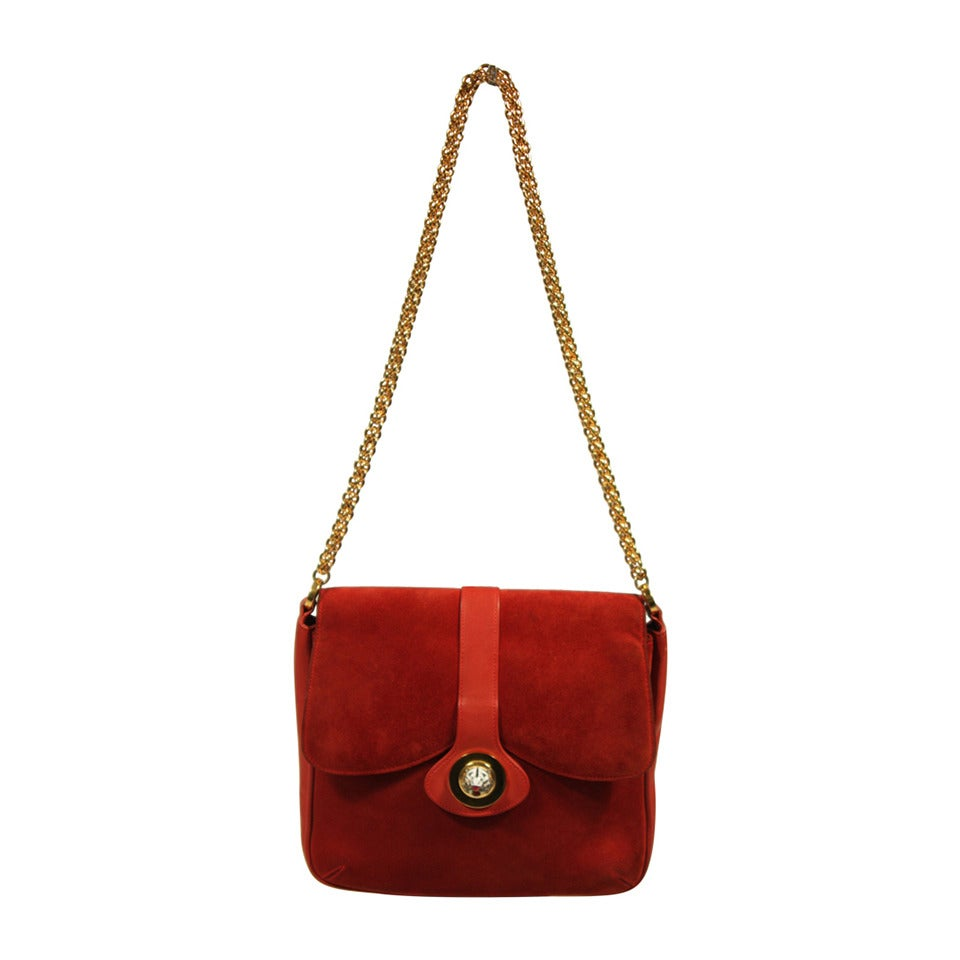 Gucci Red Rust Colored Suede Purse with Enamel Tiger Clasp ...