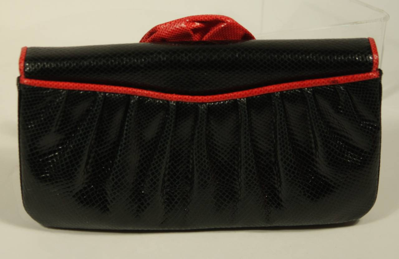 Judith Leiber Black and Red Snakeskin Clutch 5