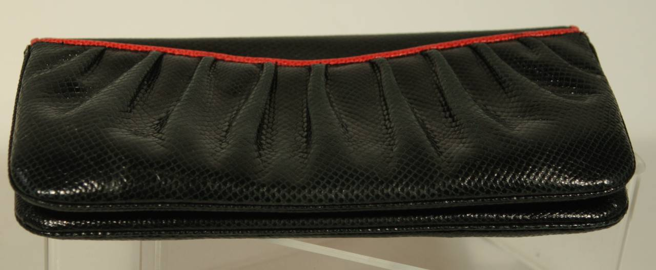 Judith Leiber Black and Red Snakeskin Clutch 6