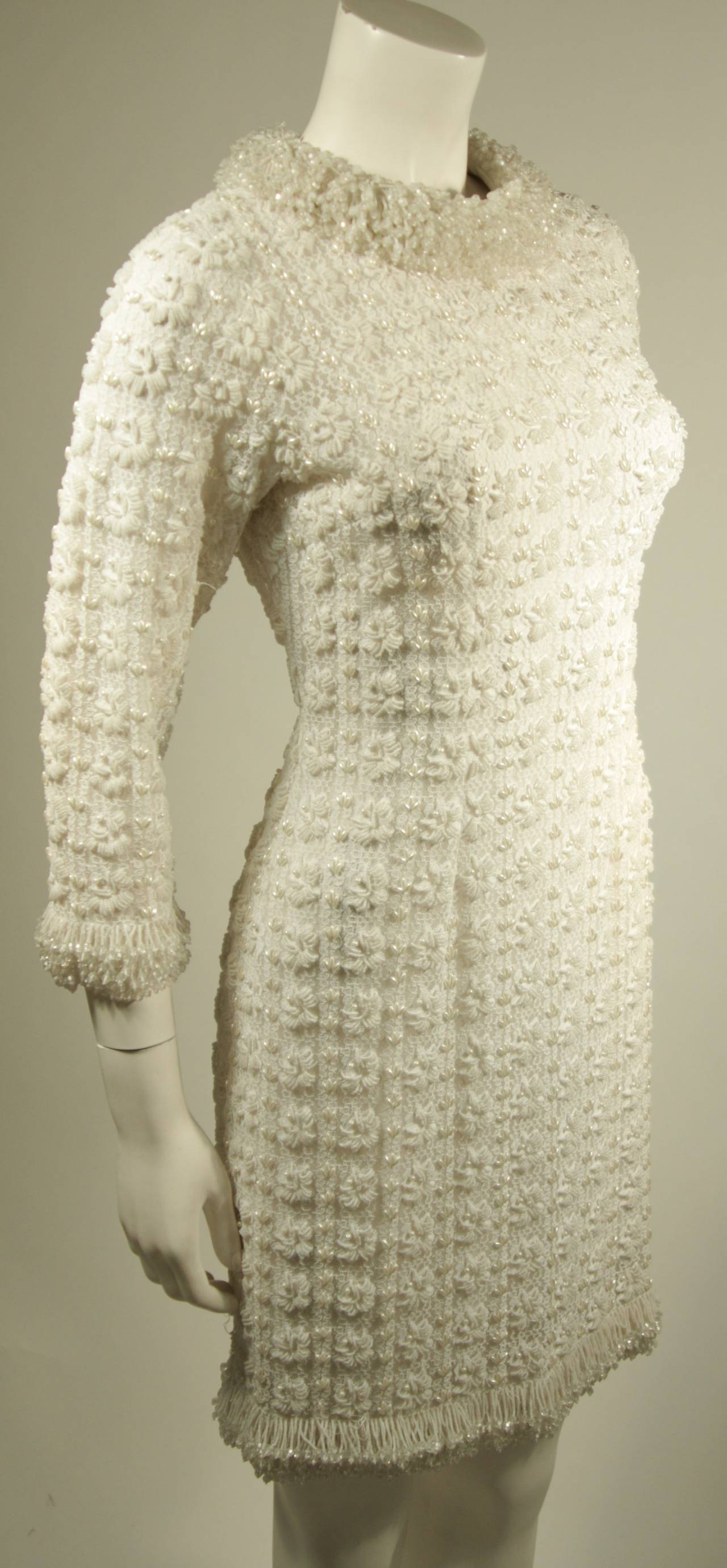 1960's White Beaded Cocktail Dress 6