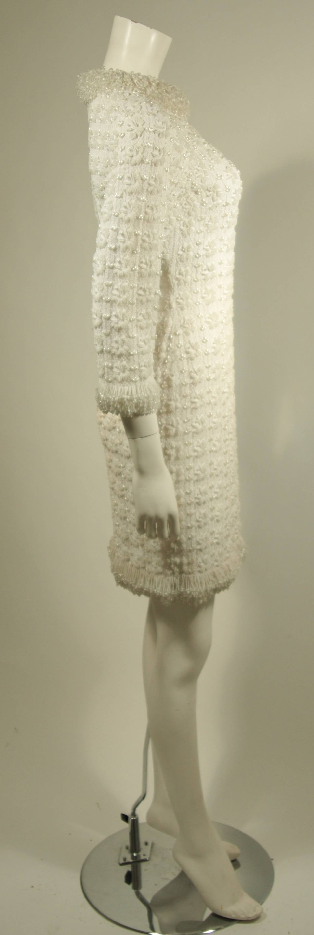 1960's White Beaded Cocktail Dress 7