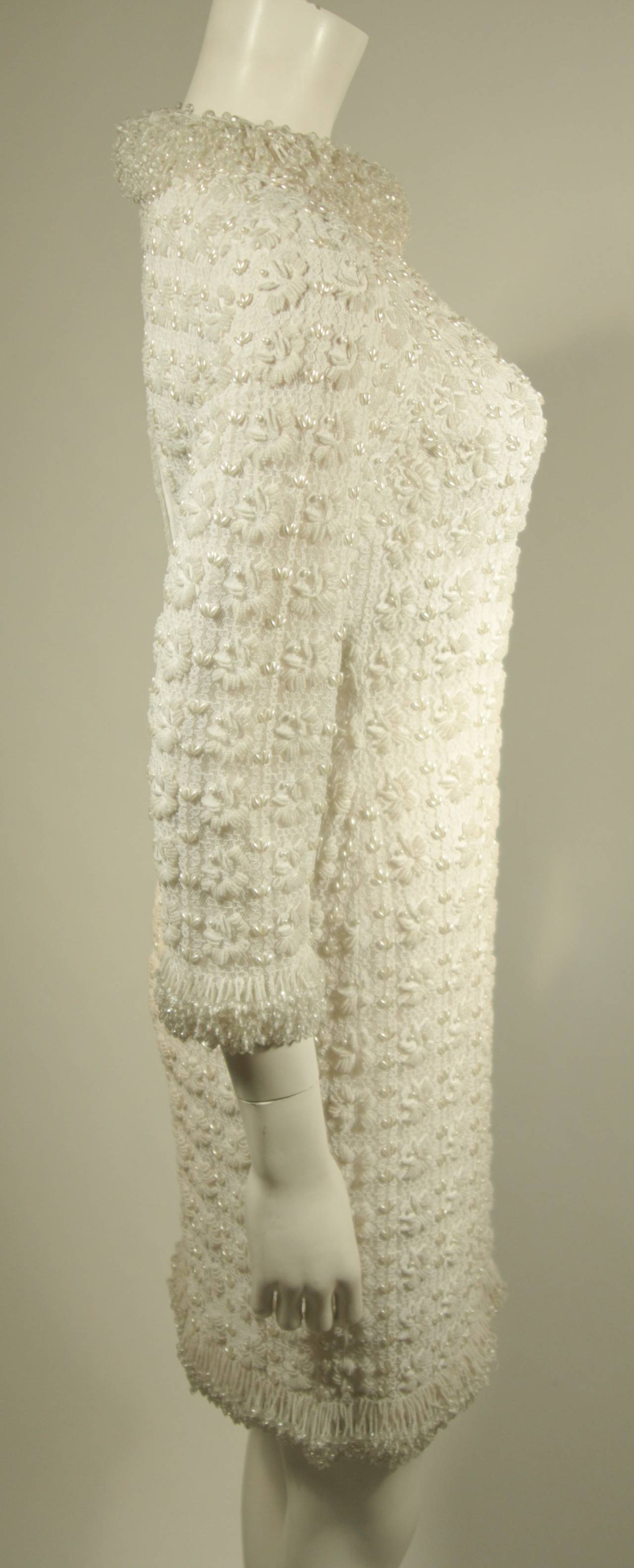 1960's White Beaded Cocktail Dress 8