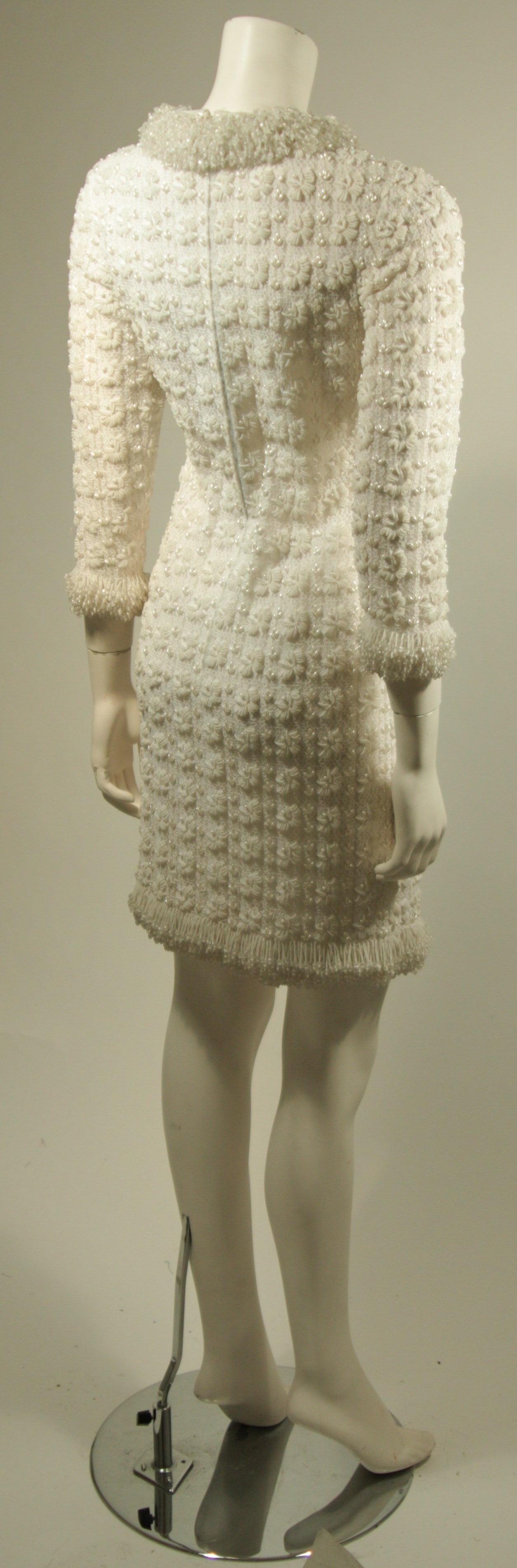 1960's White Beaded Cocktail Dress 9