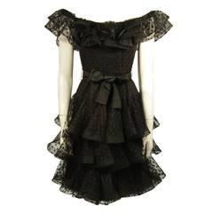 Scassi Black Ruffled Polka Dot Mesh Cocktail Dress Size 10