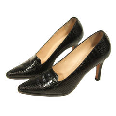 Manolo Blahnik Black Crocodile Pumps Size 38