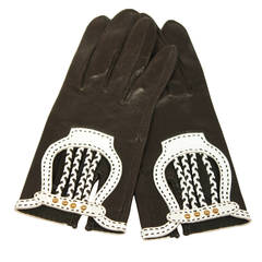 Hermes Black Leather Gloves with White Accents and Braiding Size 6.5