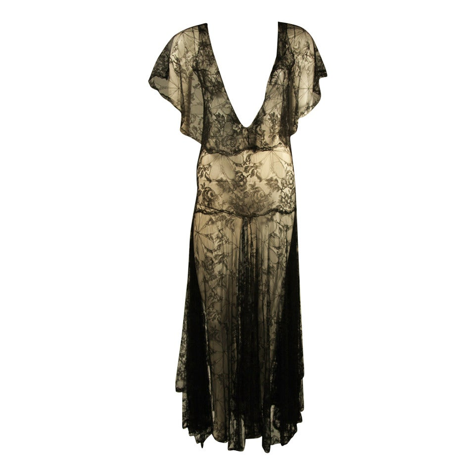 1930's Black French Lace Gown 1