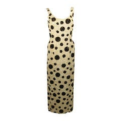 Custom Black and White Iridescent Sequin Polka Dot Gown