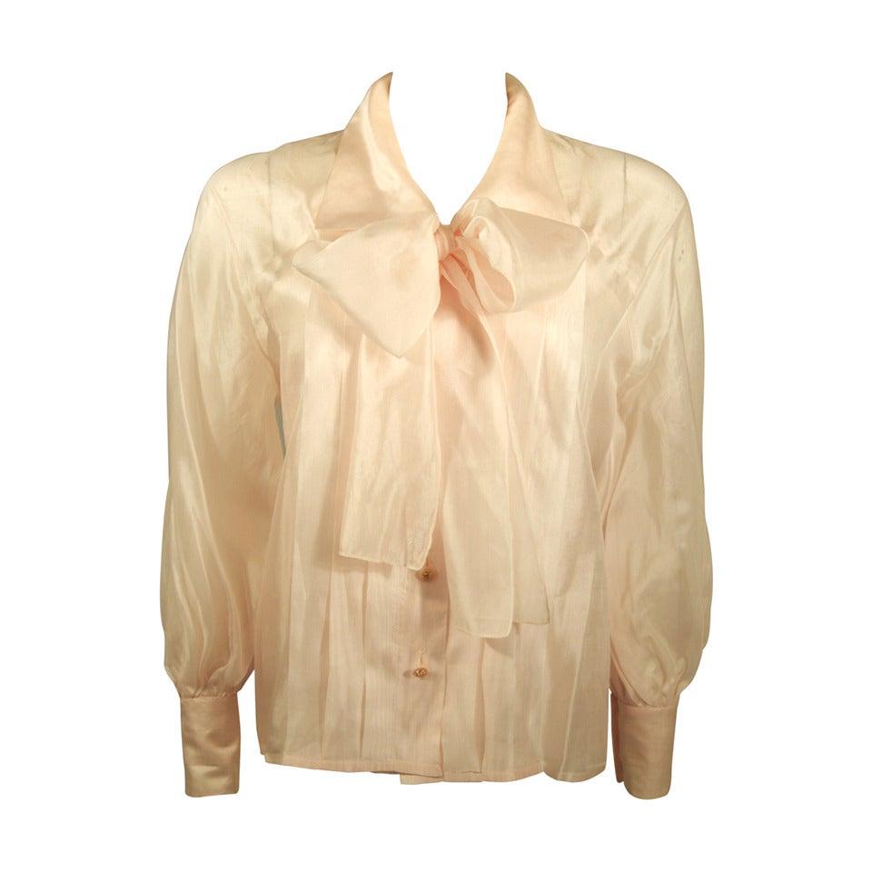 Chanel 3 Piece Pink Silk Organza Tie Neck Blouse & Camisole Set Size 36 1