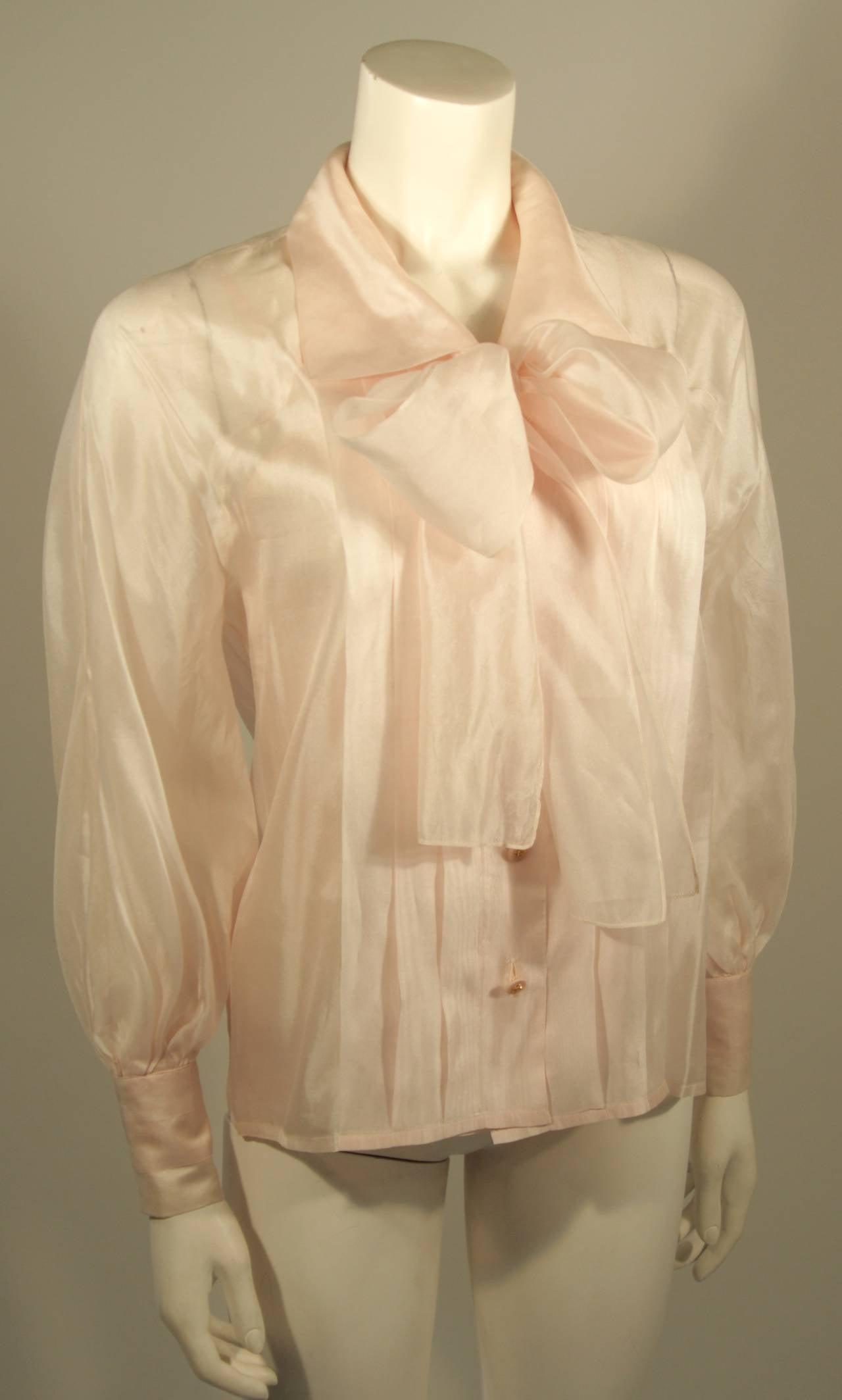 Chanel 3 Piece Pink Silk Organza Tie Neck Blouse & Camisole Set Size 36 4