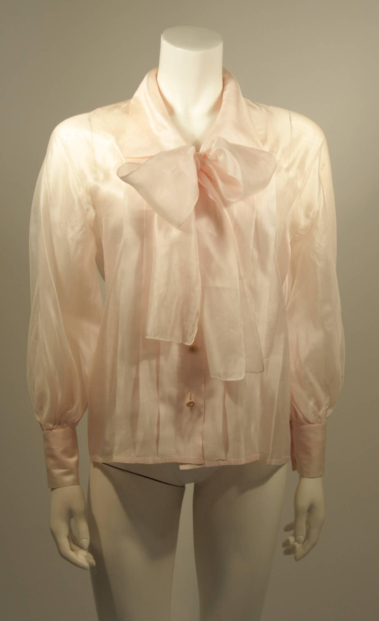 Chanel 3 Piece Pink Silk Organza Tie Neck Blouse & Camisole Set Size 36 3