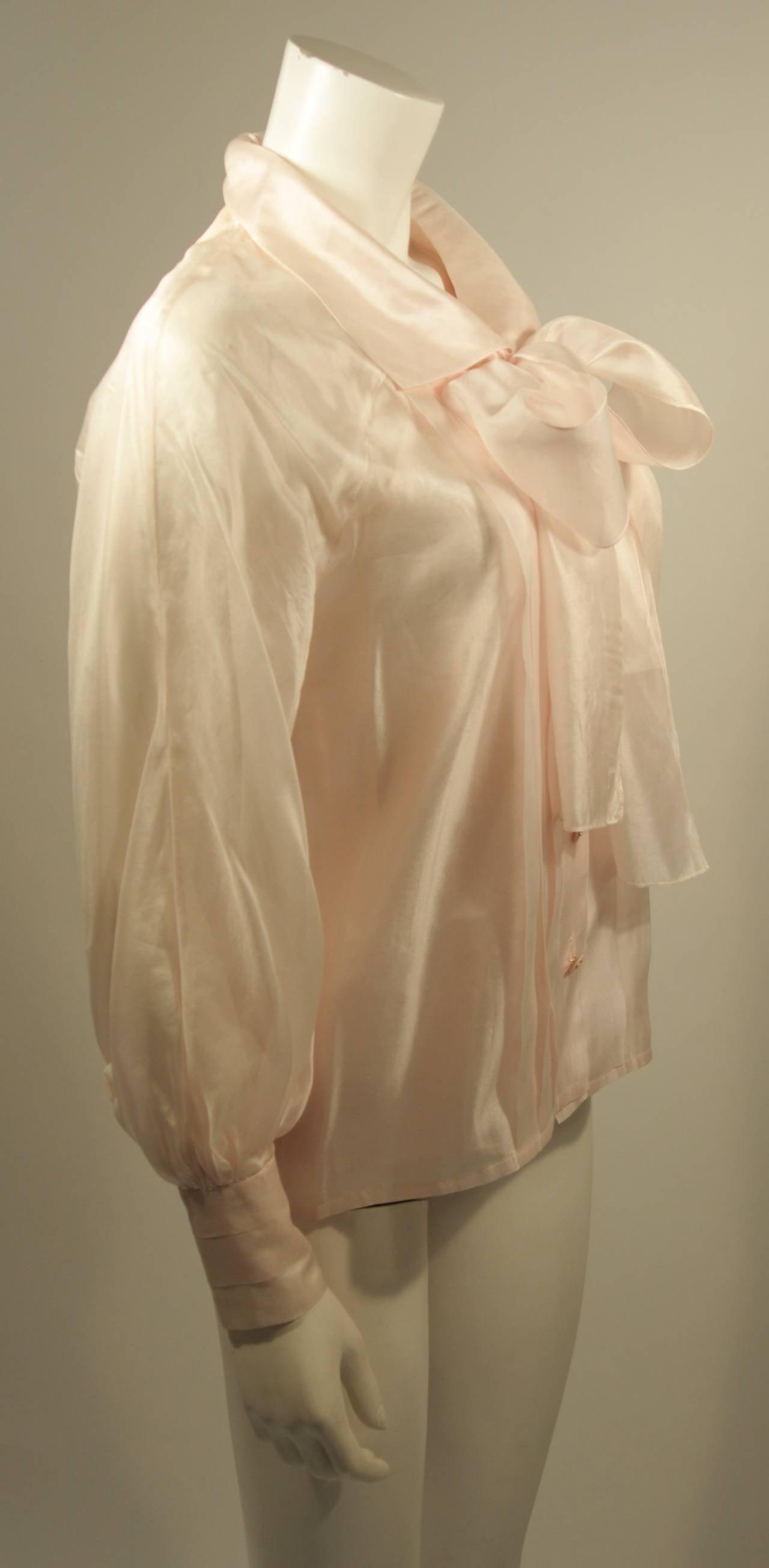 Chanel 3 Piece Pink Silk Organza Tie Neck Blouse & Camisole Set Size 36 6