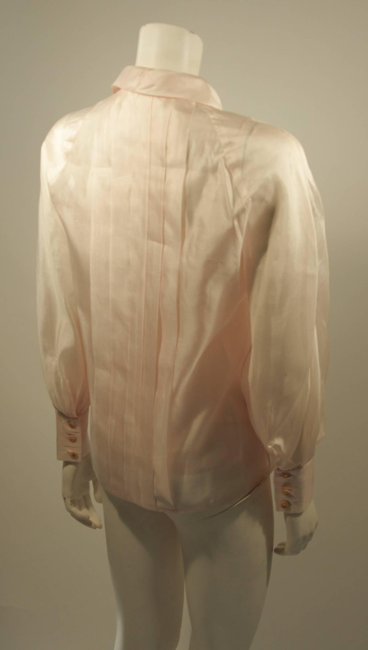 Chanel 3 Piece Pink Silk Organza Tie Neck Blouse & Camisole Set Size 36 7