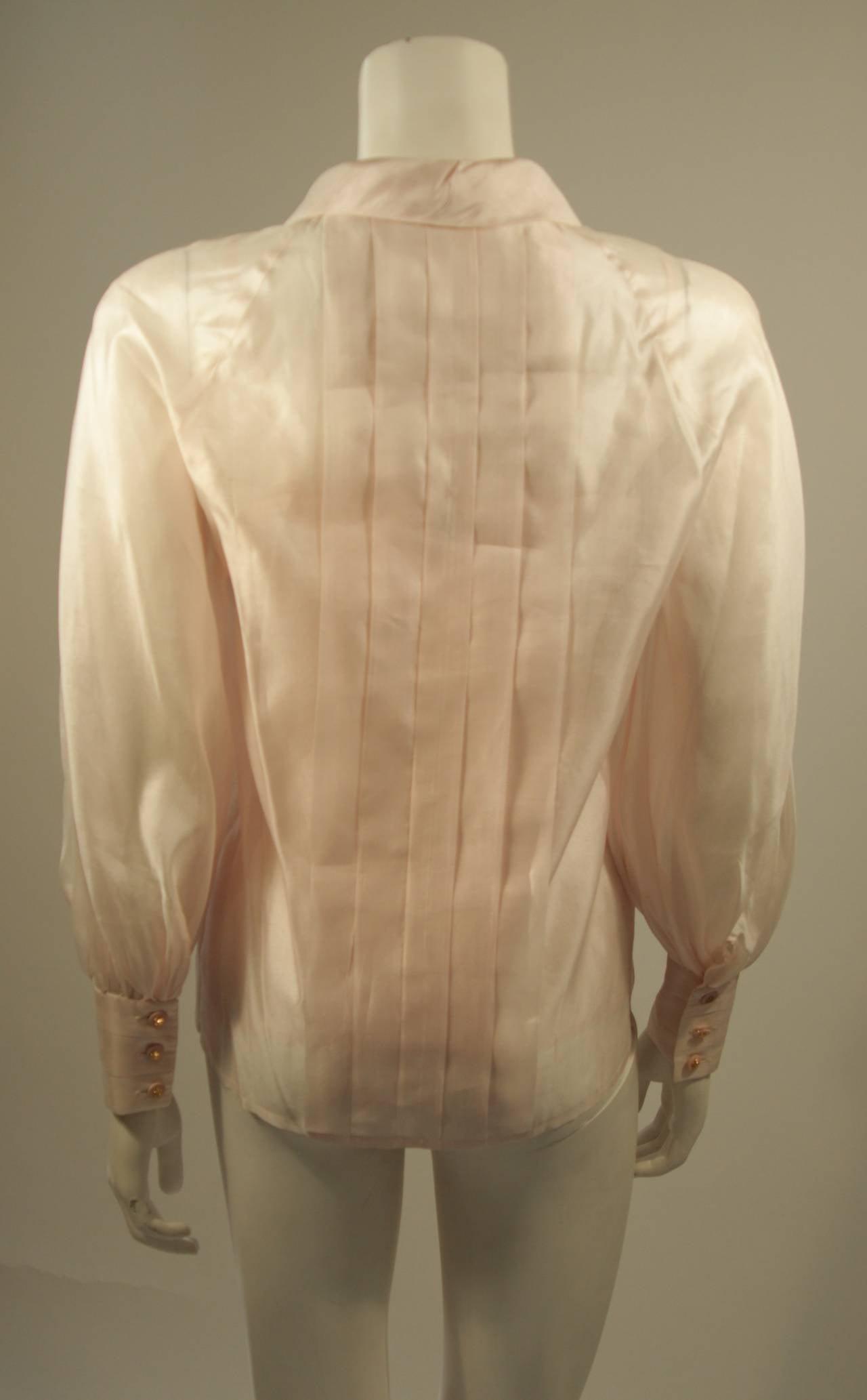 Chanel 3 Piece Pink Silk Organza Tie Neck Blouse & Camisole Set Size 36 8