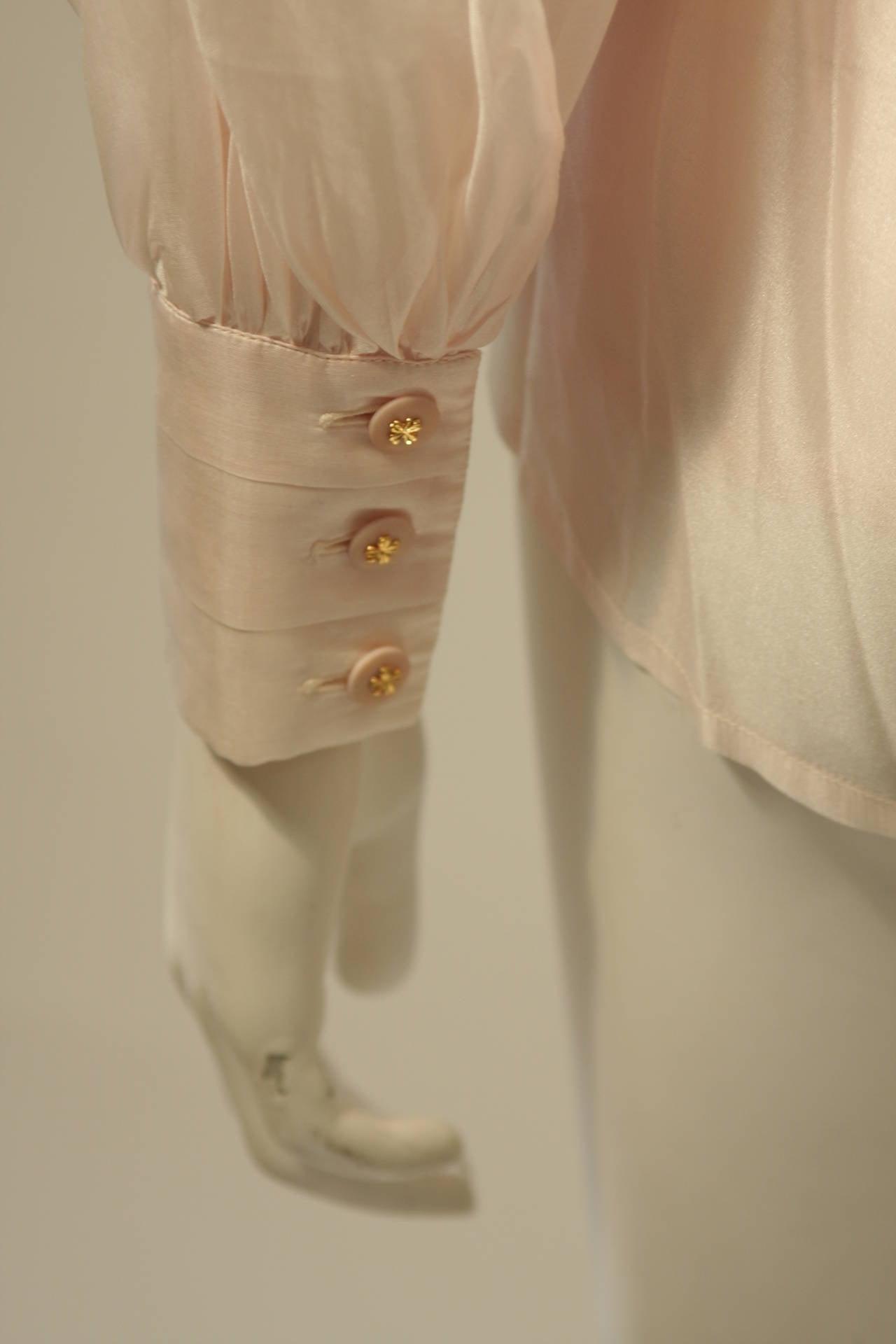 Chanel 3 Piece Pink Silk Organza Tie Neck Blouse & Camisole Set Size 36 9