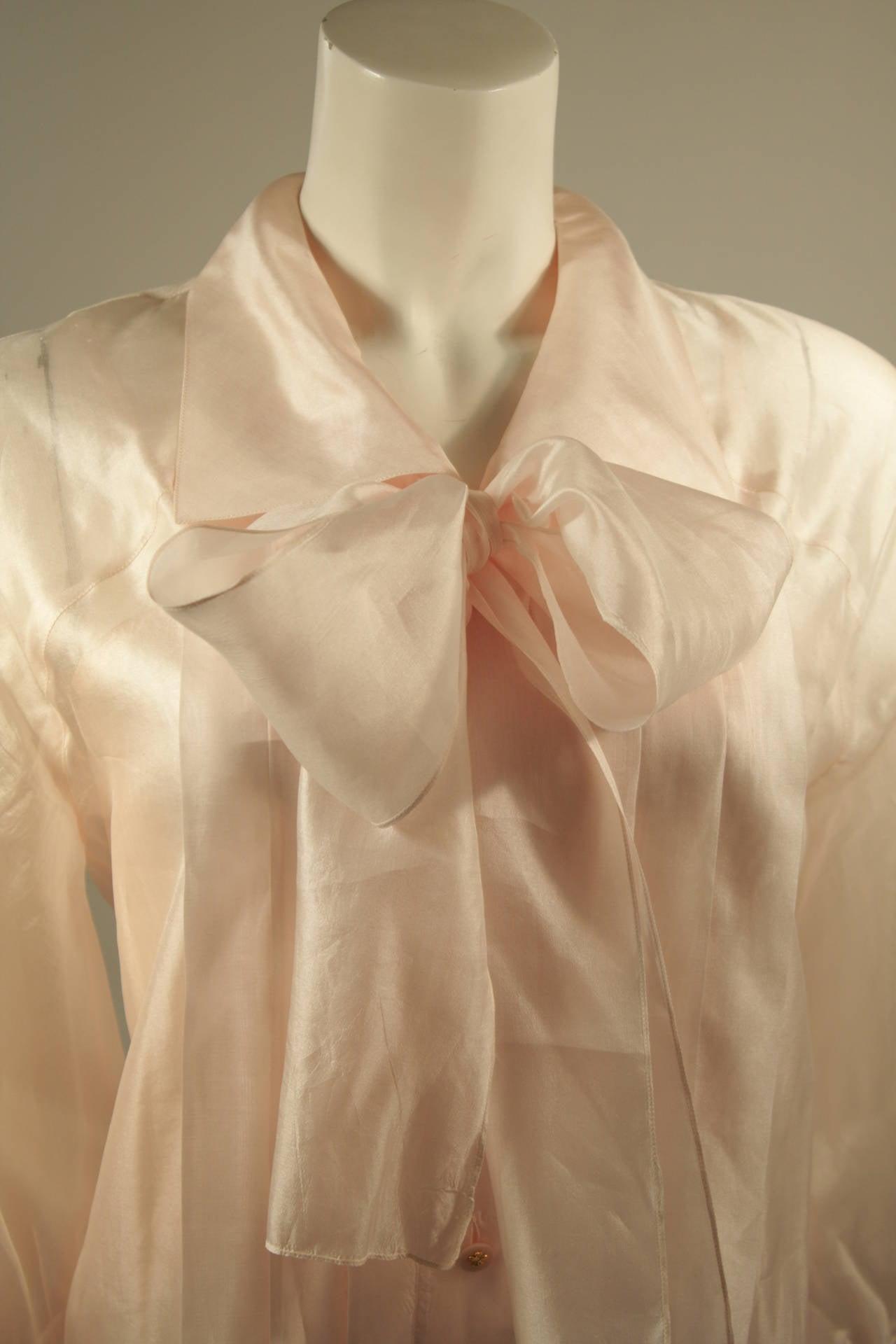 Chanel 3 Piece Pink Silk Organza Tie Neck Blouse & Camisole Set Size 36 5