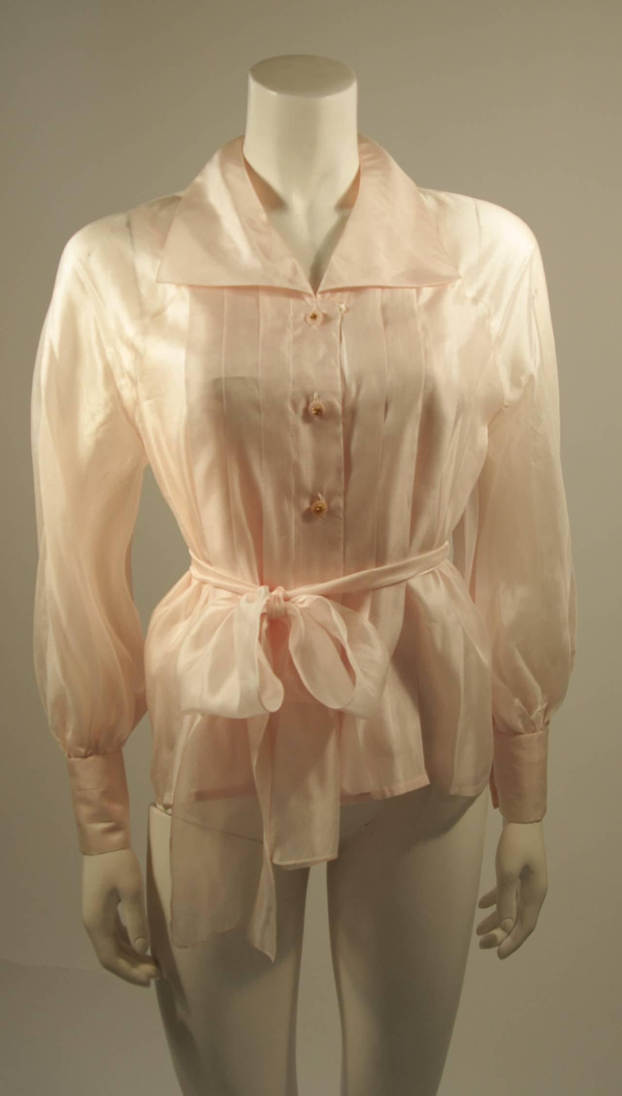 Chanel 3 Piece Pink Silk Organza Tie Neck Blouse & Camisole Set Size 36 2