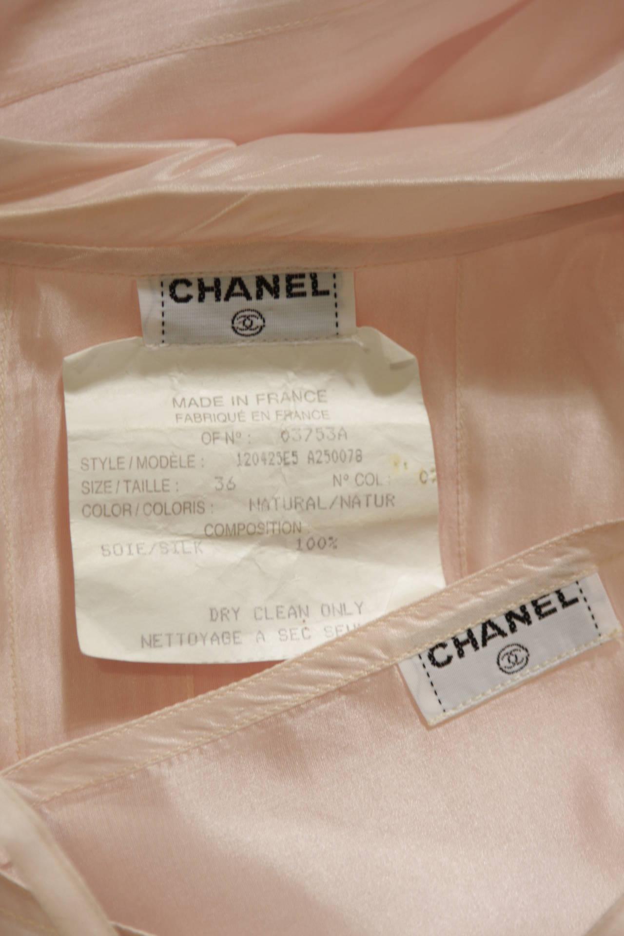 Chanel 3 Piece Pink Silk Organza Tie Neck Blouse & Camisole Set Size 36 10