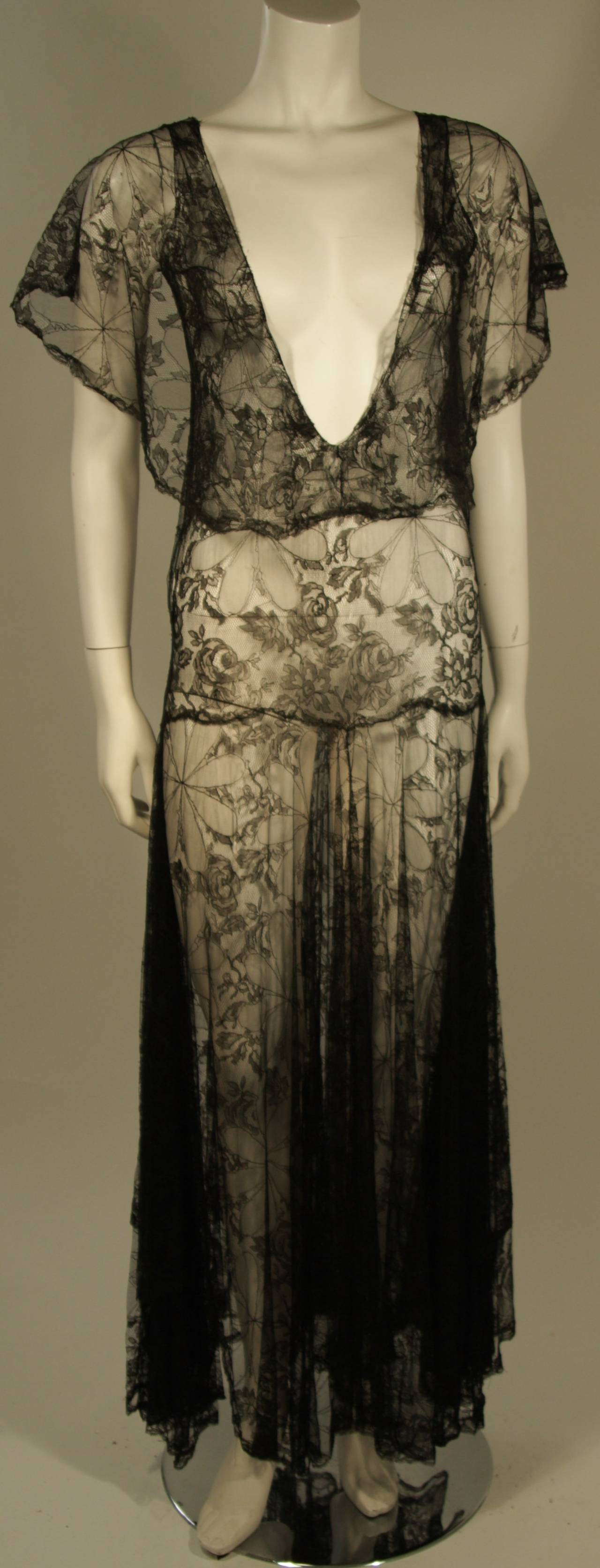 1930's Black French Lace Gown 2