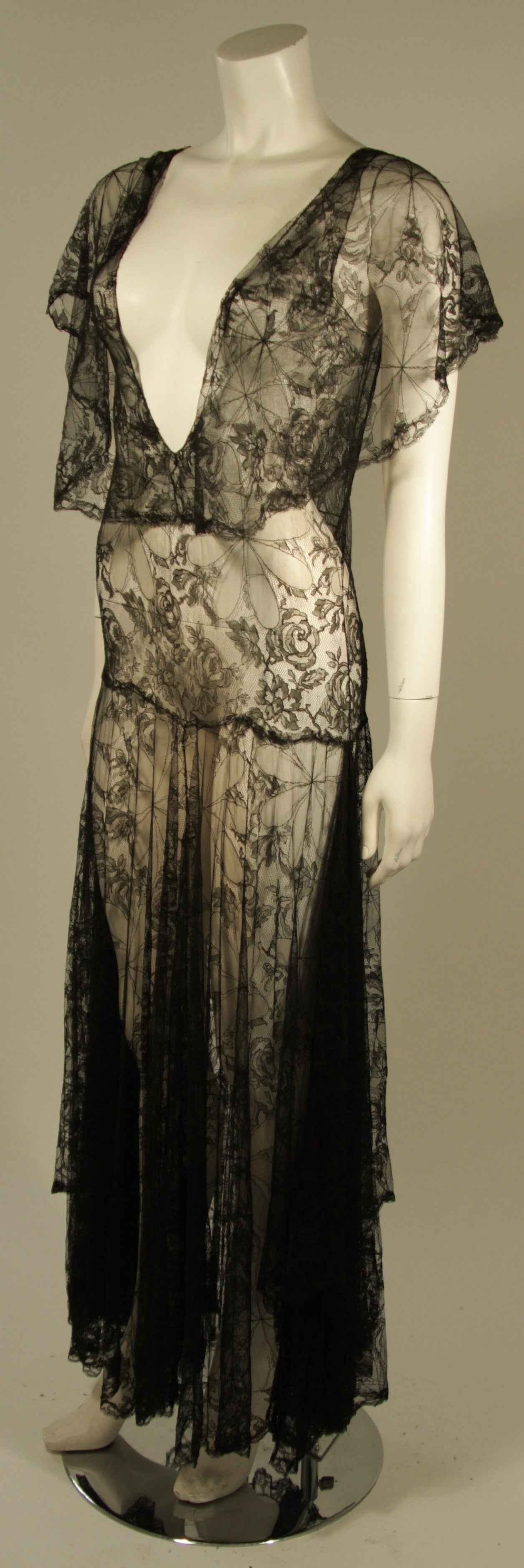 1930's Black French Lace Gown 3