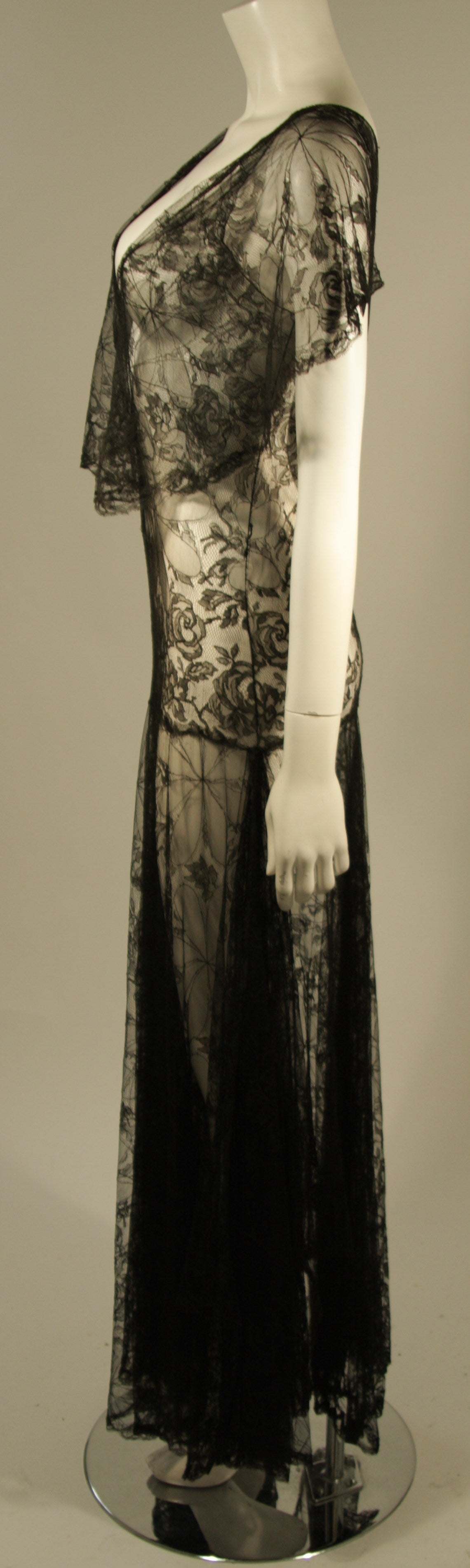 1930's Black French Lace Gown 7