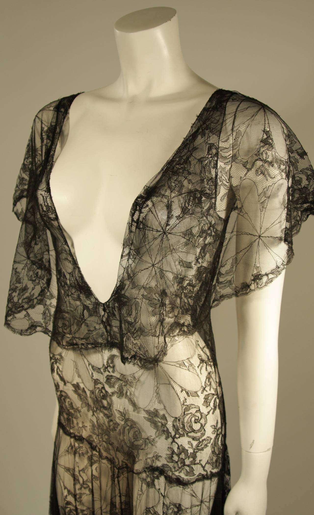1930's Black French Lace Gown 5
