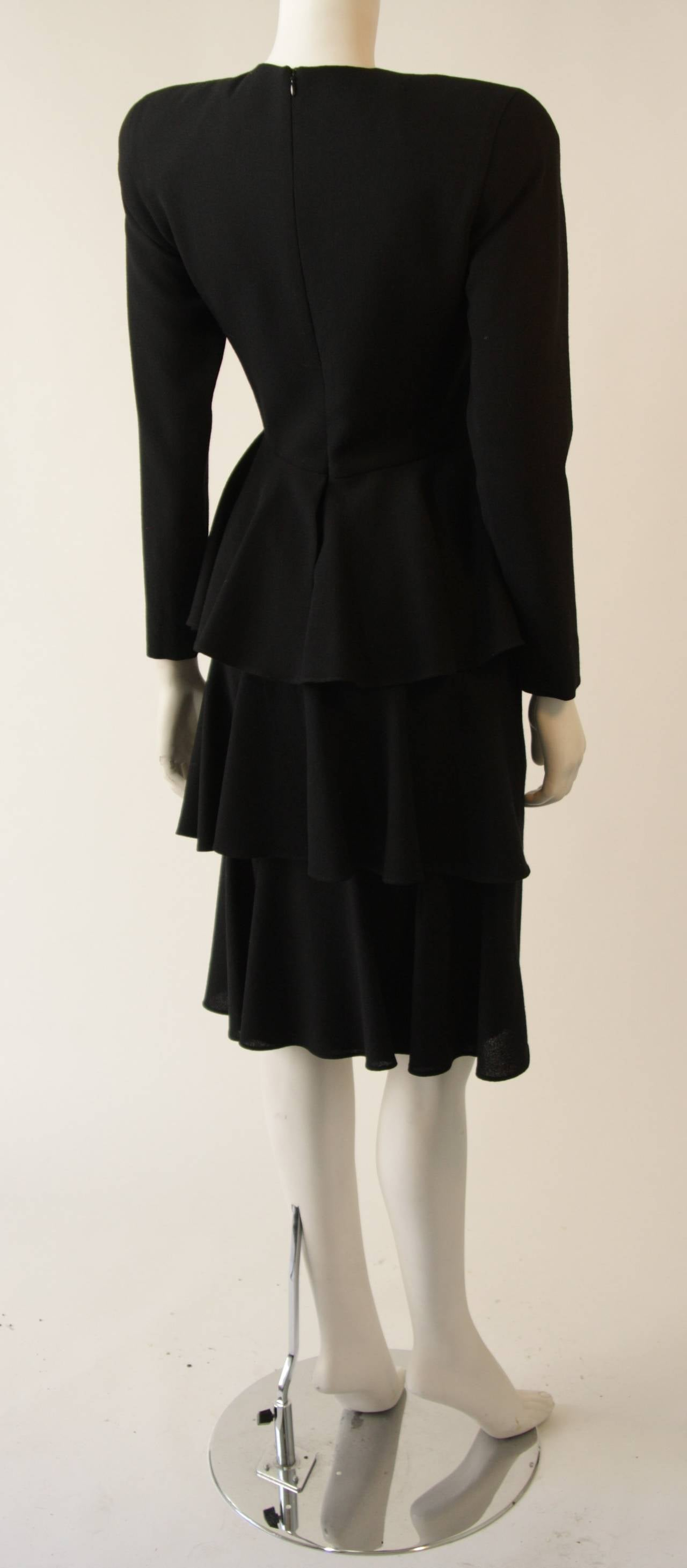 Anne Klein Black Wool Cocktail Dress with Ruffle Detail 6