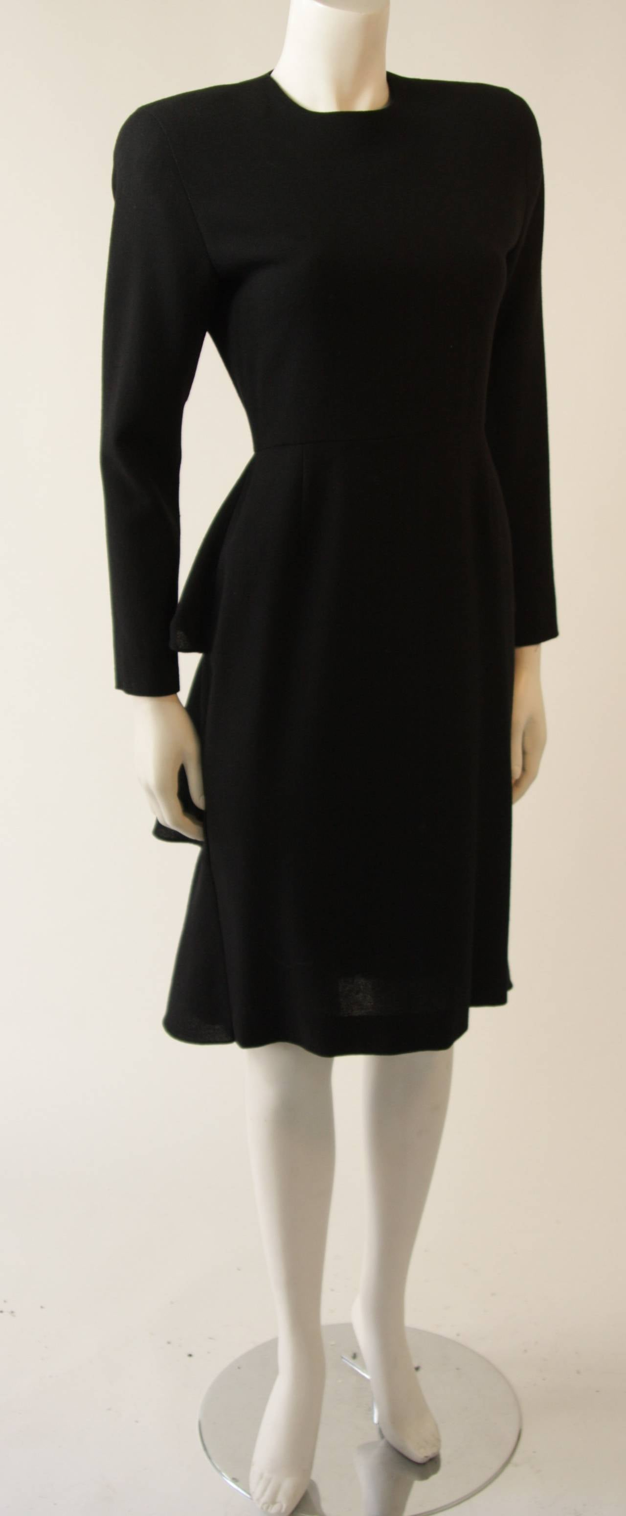 Anne Klein Black Wool Cocktail Dress with Ruffle Detail 2