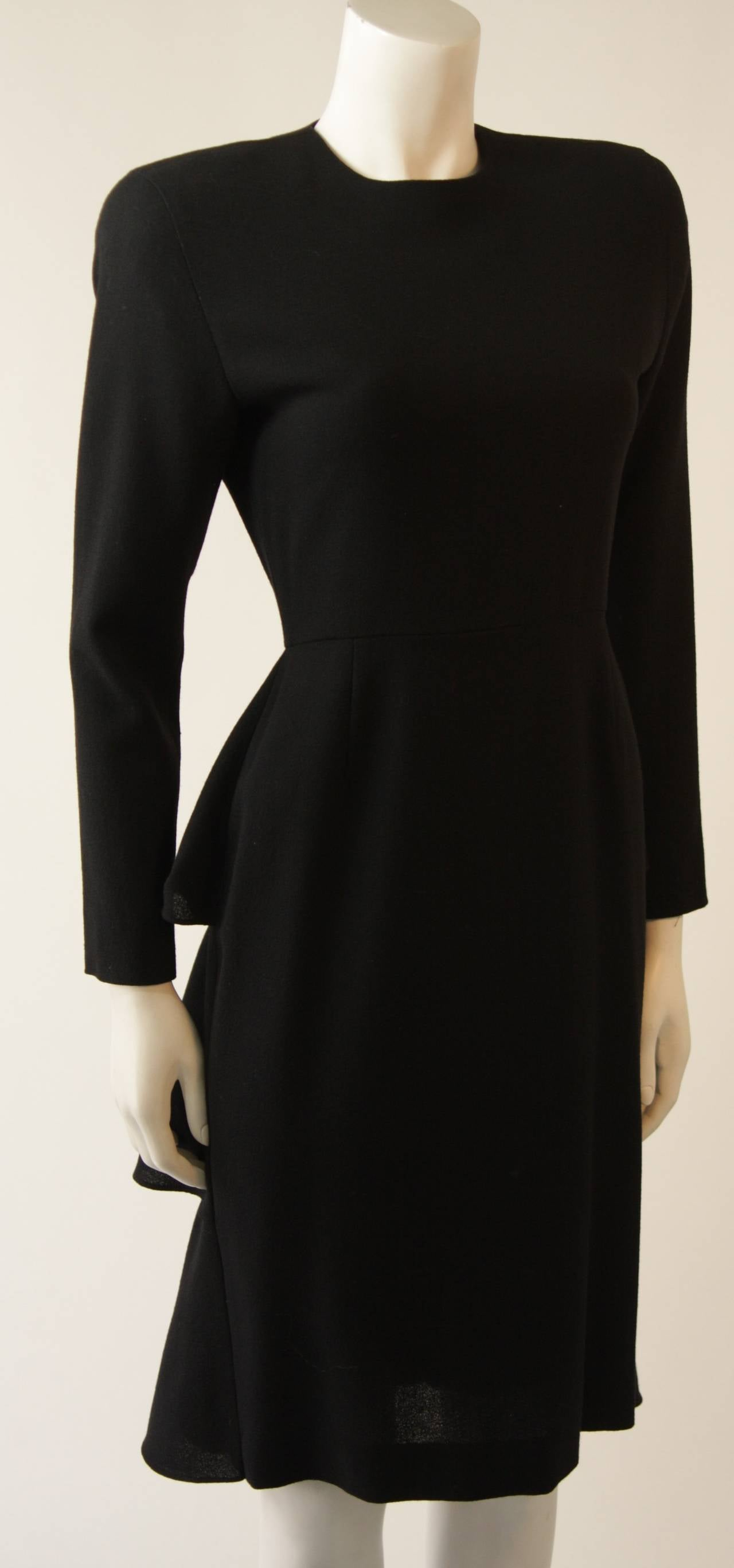 Anne Klein Black Wool Cocktail Dress with Ruffle Detail 3