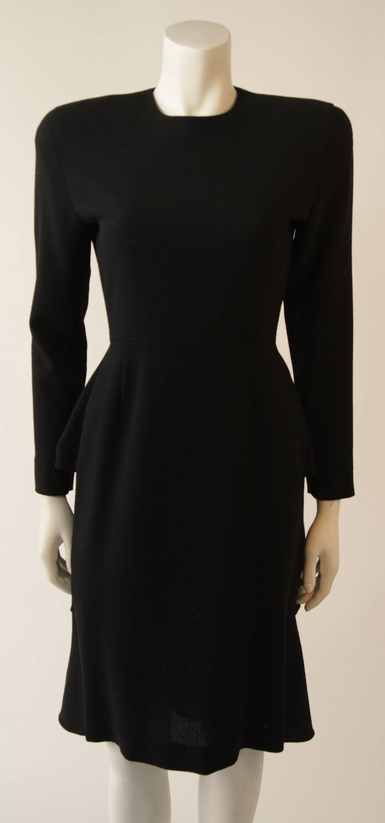 Anne Klein Black Wool Cocktail Dress with Ruffle Detail 4