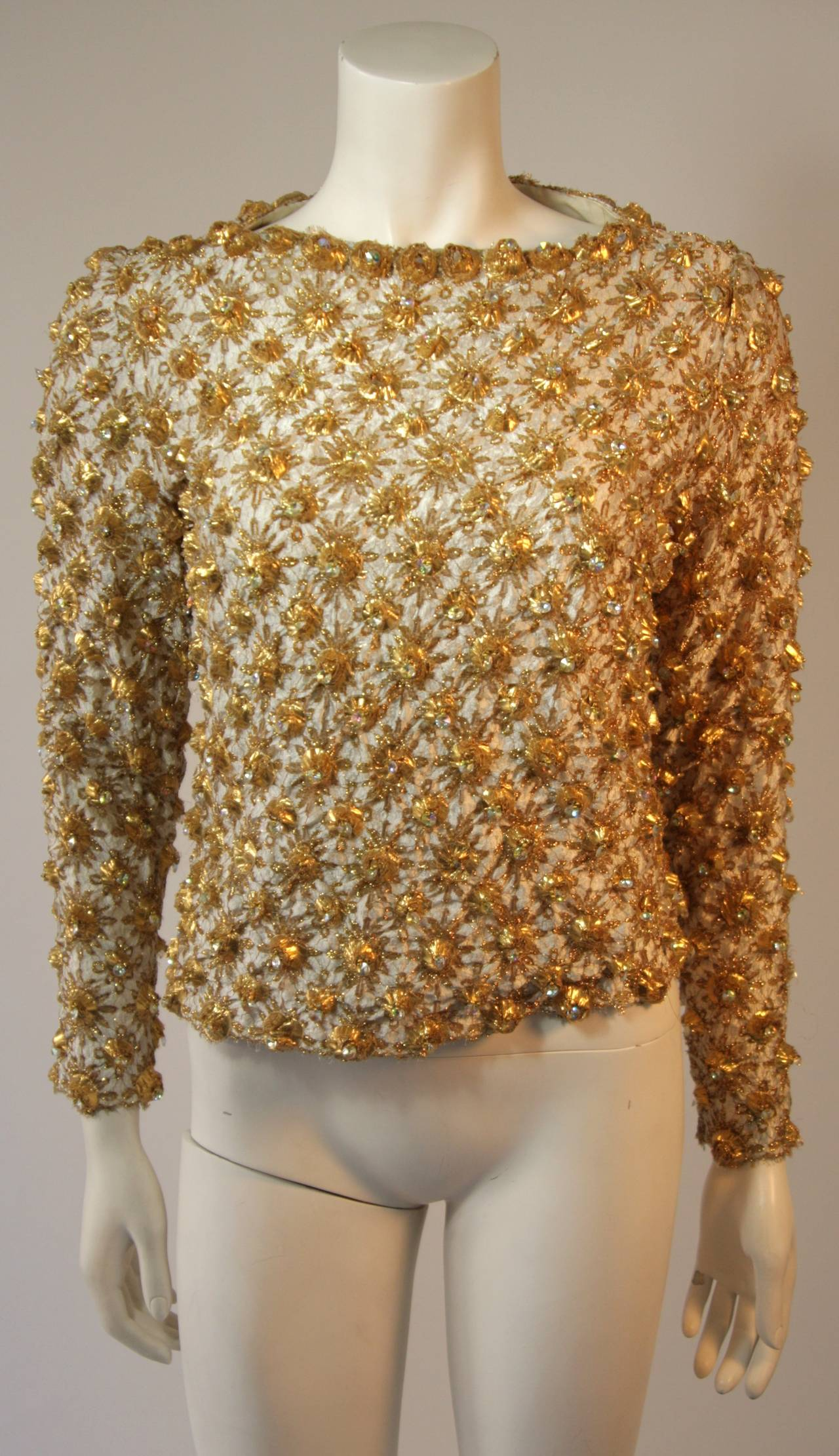 Gold and Chiffon Embellished 2 Piece Gown For Sale 2