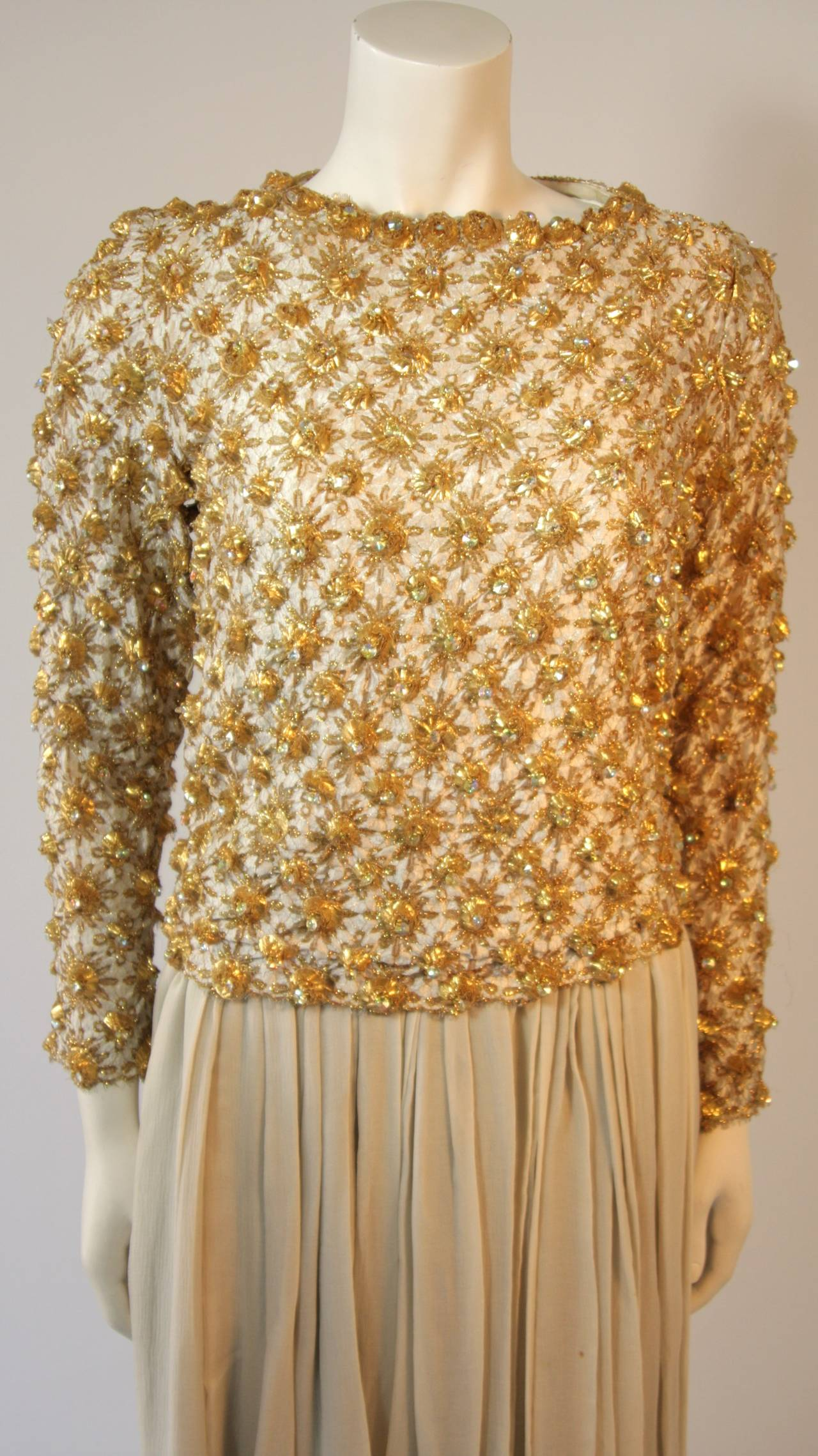 Brown Gold and Chiffon Embellished 2 Piece Gown For Sale