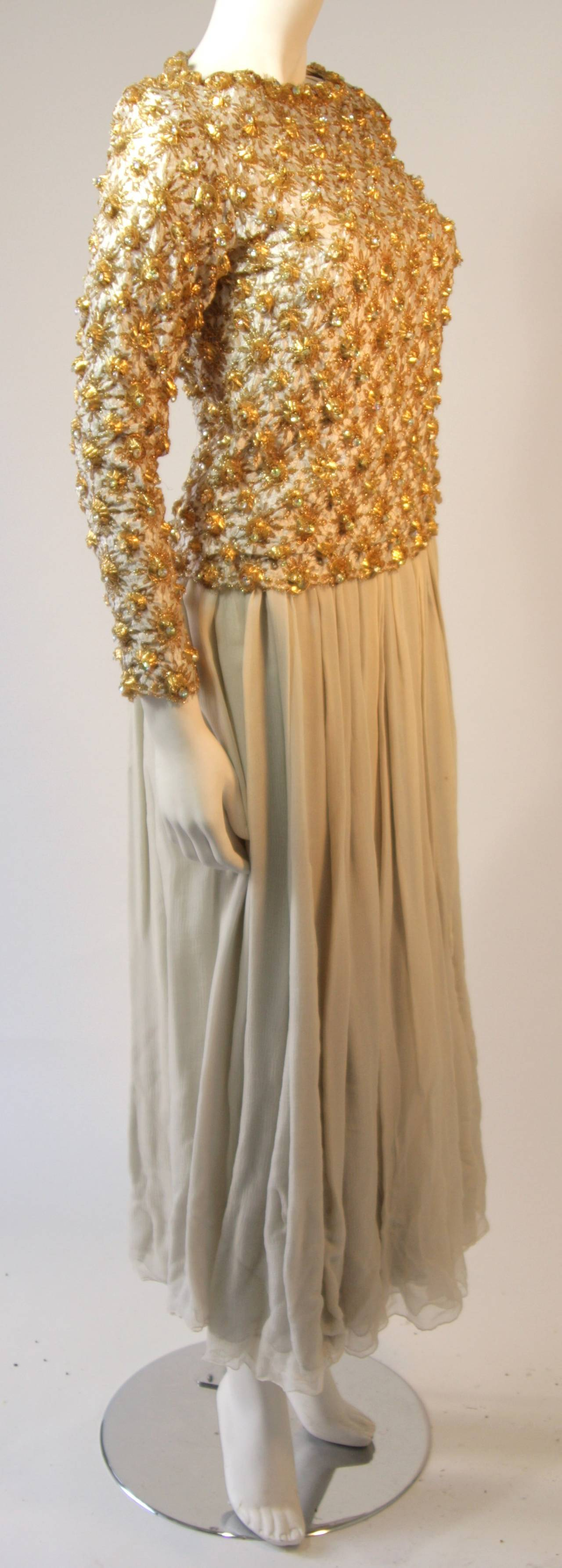 Gold and Chiffon Embellished 2 Piece Gown In Good Condition For Sale In Los Angeles, CA