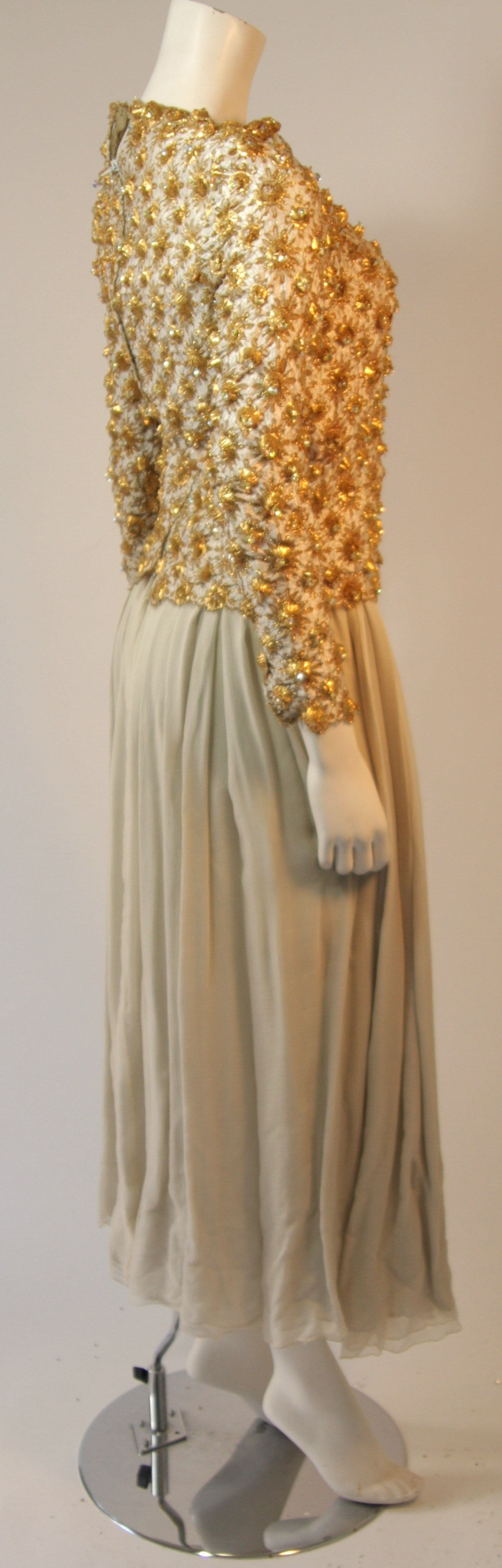 Women's or Men's Gold and Chiffon Embellished 2 Piece Gown For Sale