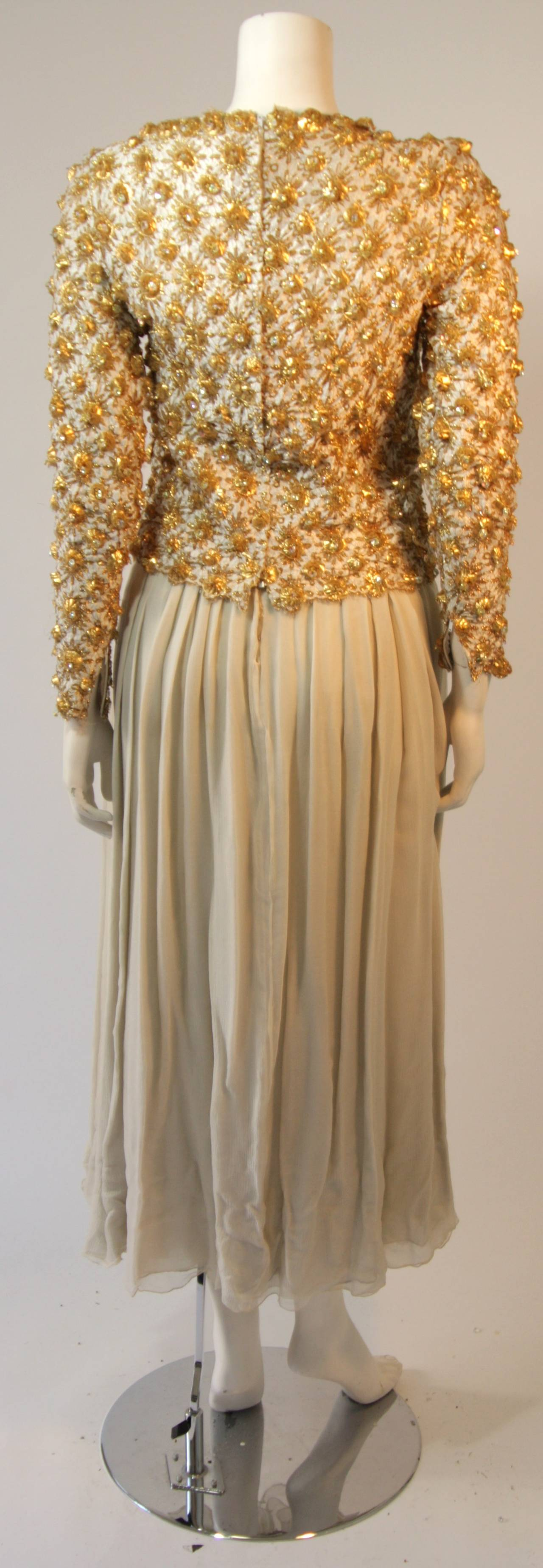 Gold and Chiffon Embellished 2 Piece Gown For Sale 1