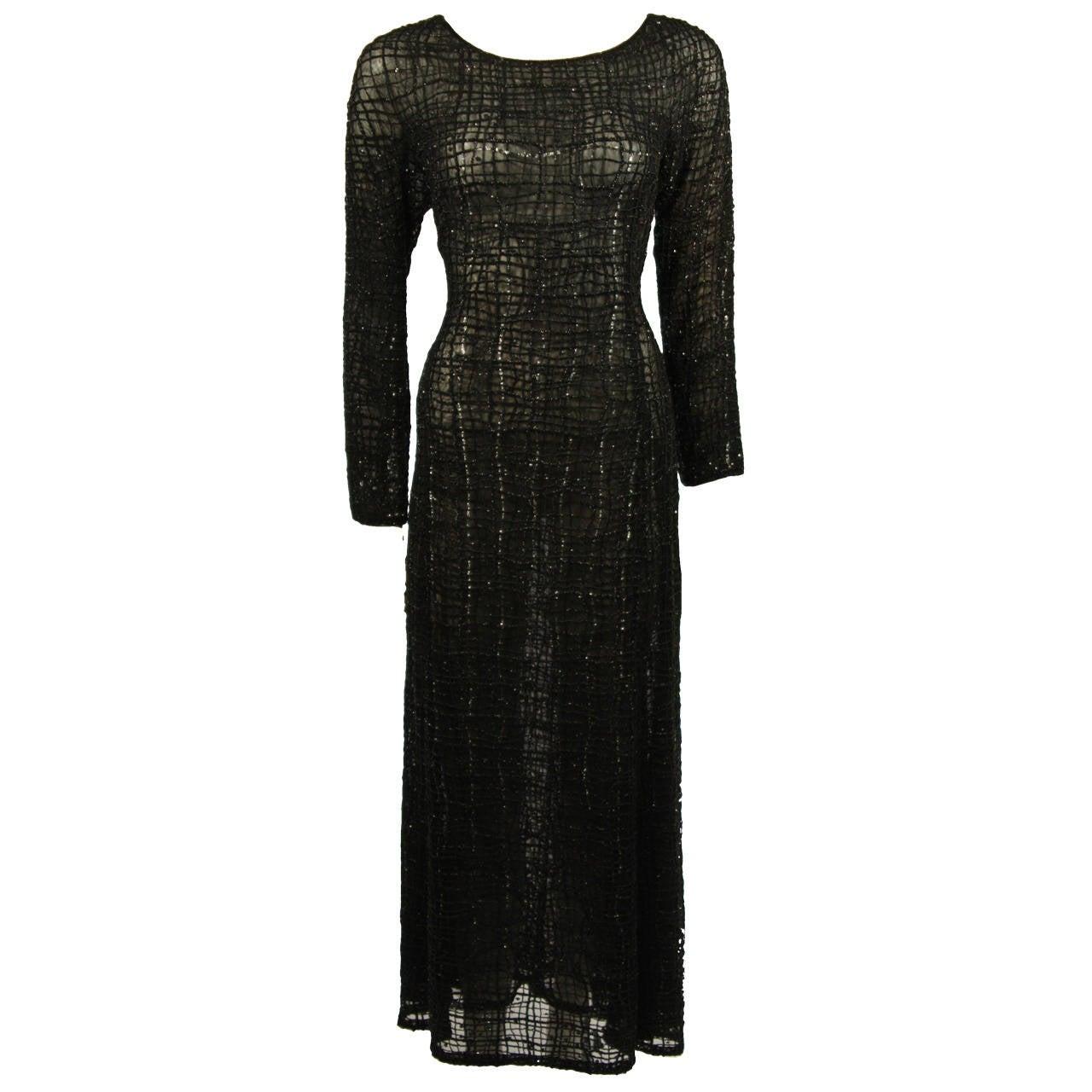 Giorgio Armani Geometric Pattern Black Beaded Gown Size 44 For ...