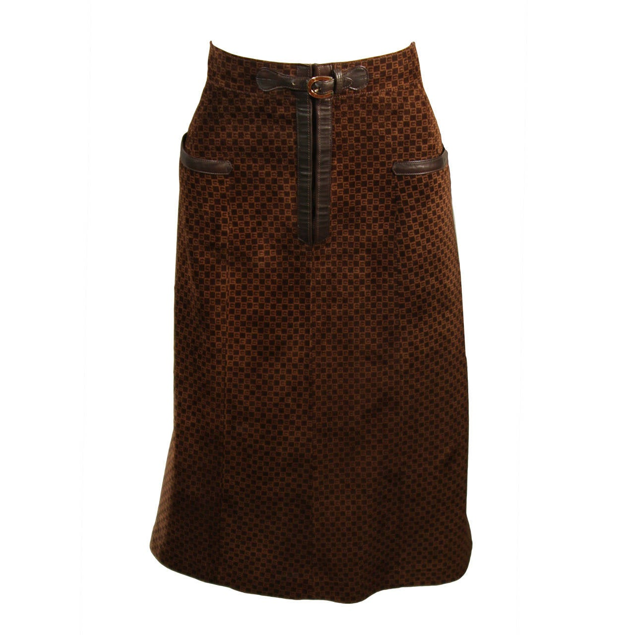 Gucci Brown Suede Skirt with Horse Shoe Detail