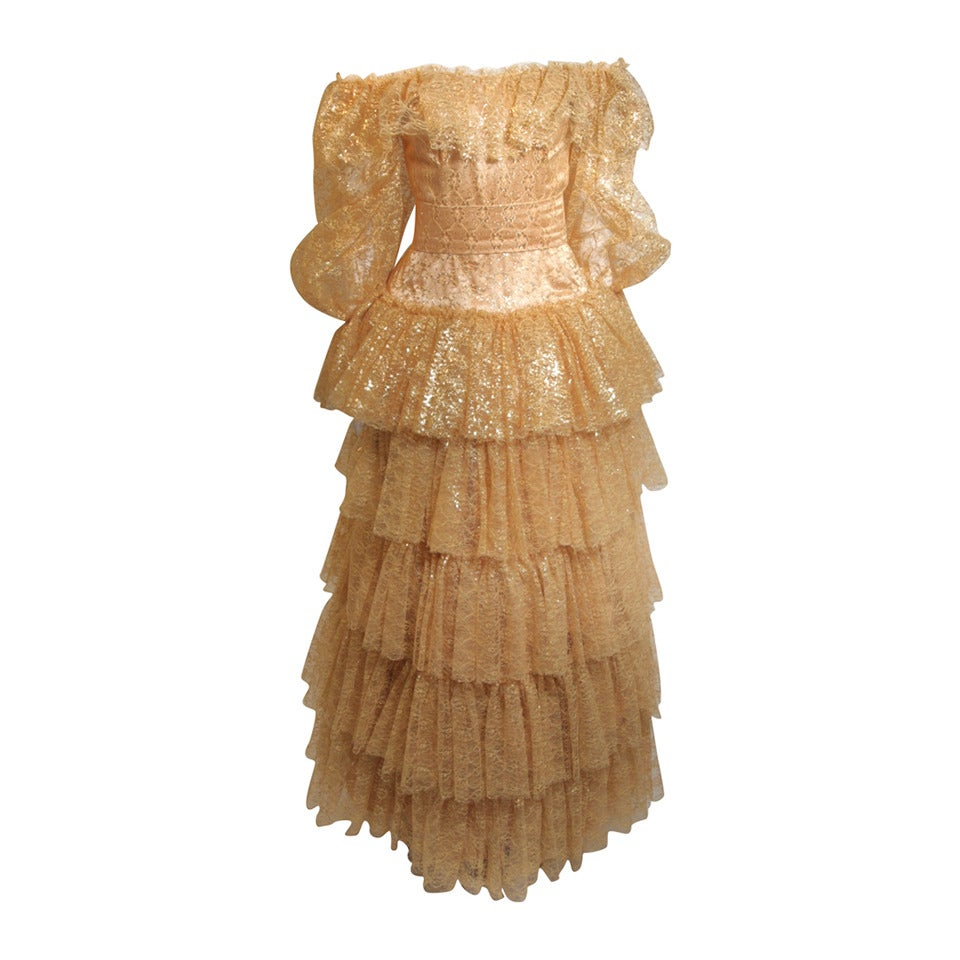 Attributed to Travilla Gold Tiered Lace Ball Gown with sheer lace sleeves size 4 For Sale
