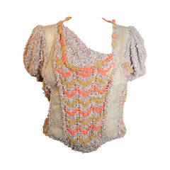 Norma Handmade Knit Sweater with Snakeskin Inserts