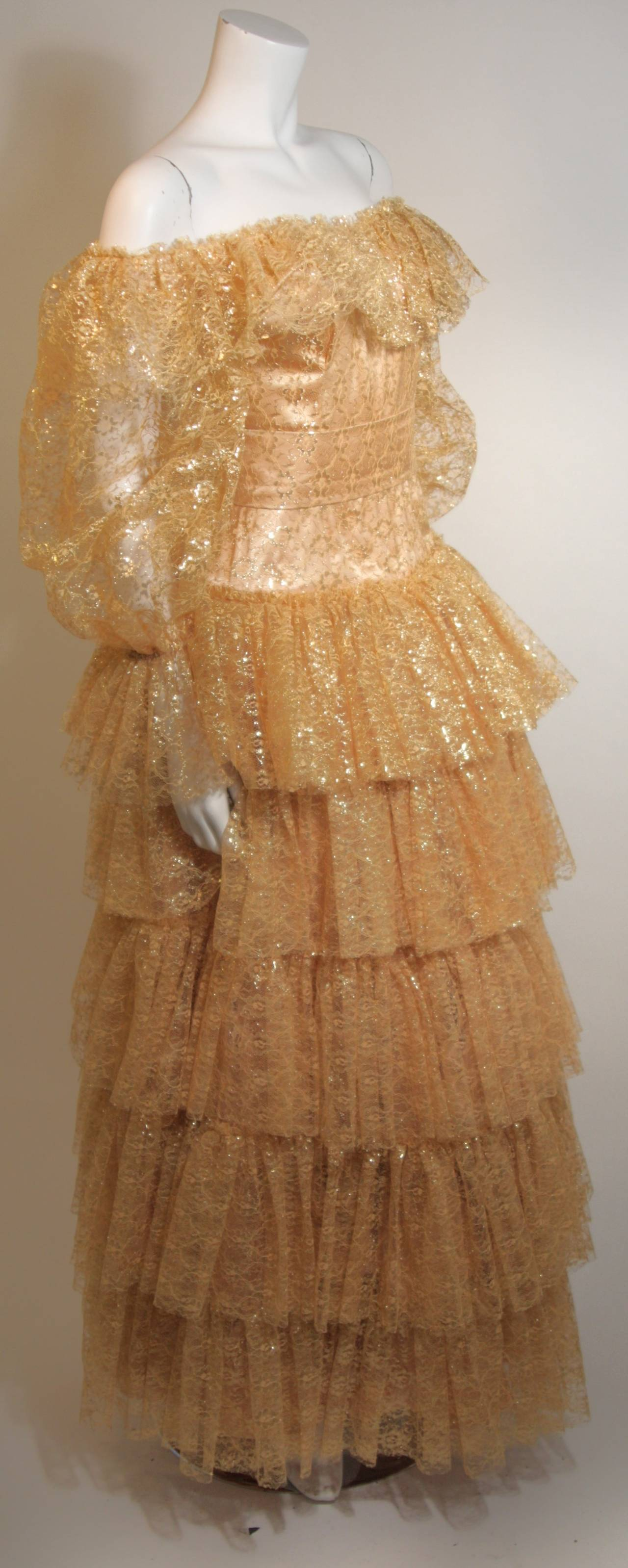 Brown Attributed to Travilla Gold Tiered Lace Ball Gown with sheer lace sleeves size 4 For Sale