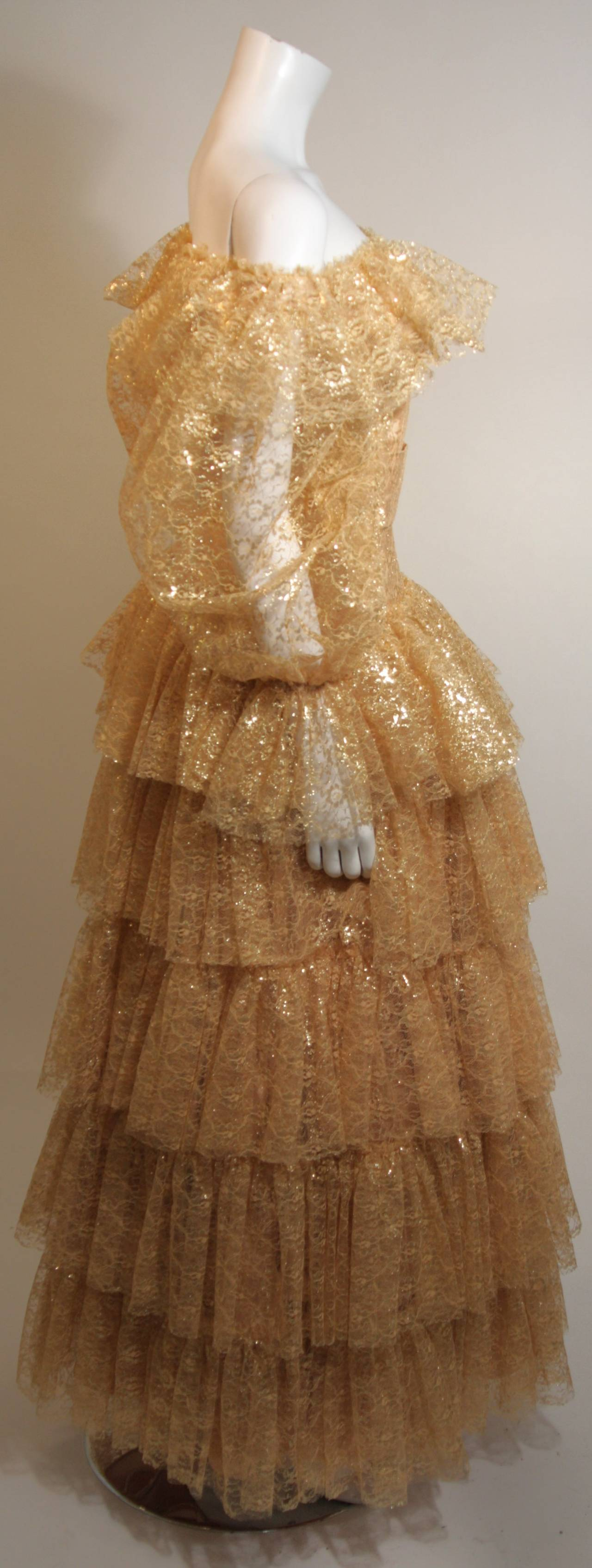 Women's Attributed to Travilla Gold Tiered Lace Ball Gown with sheer lace sleeves size 4 For Sale