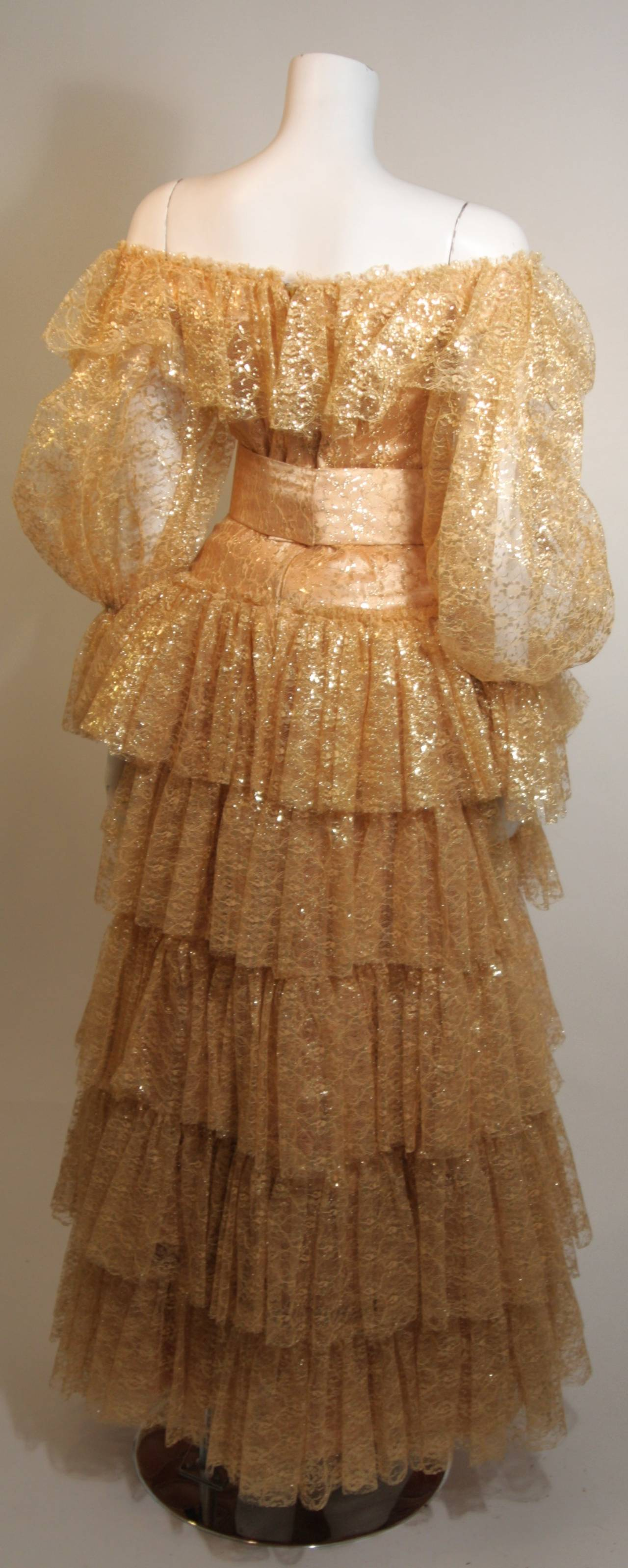 Attributed to Travilla Gold Tiered Lace Ball Gown with sheer lace sleeves size 4 For Sale 1
