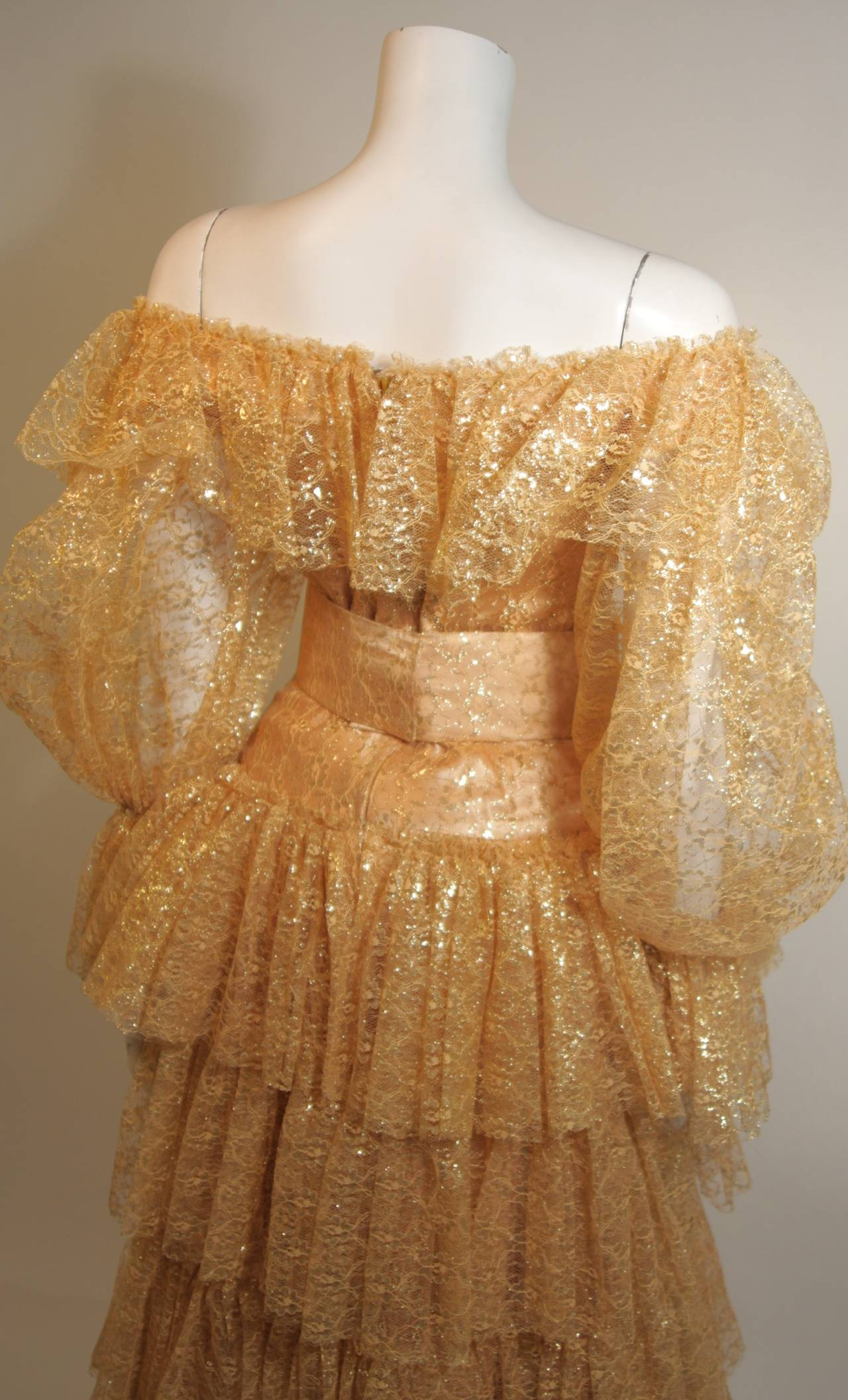 Attributed to Travilla Gold Tiered Lace Ball Gown with sheer lace sleeves size 4 7